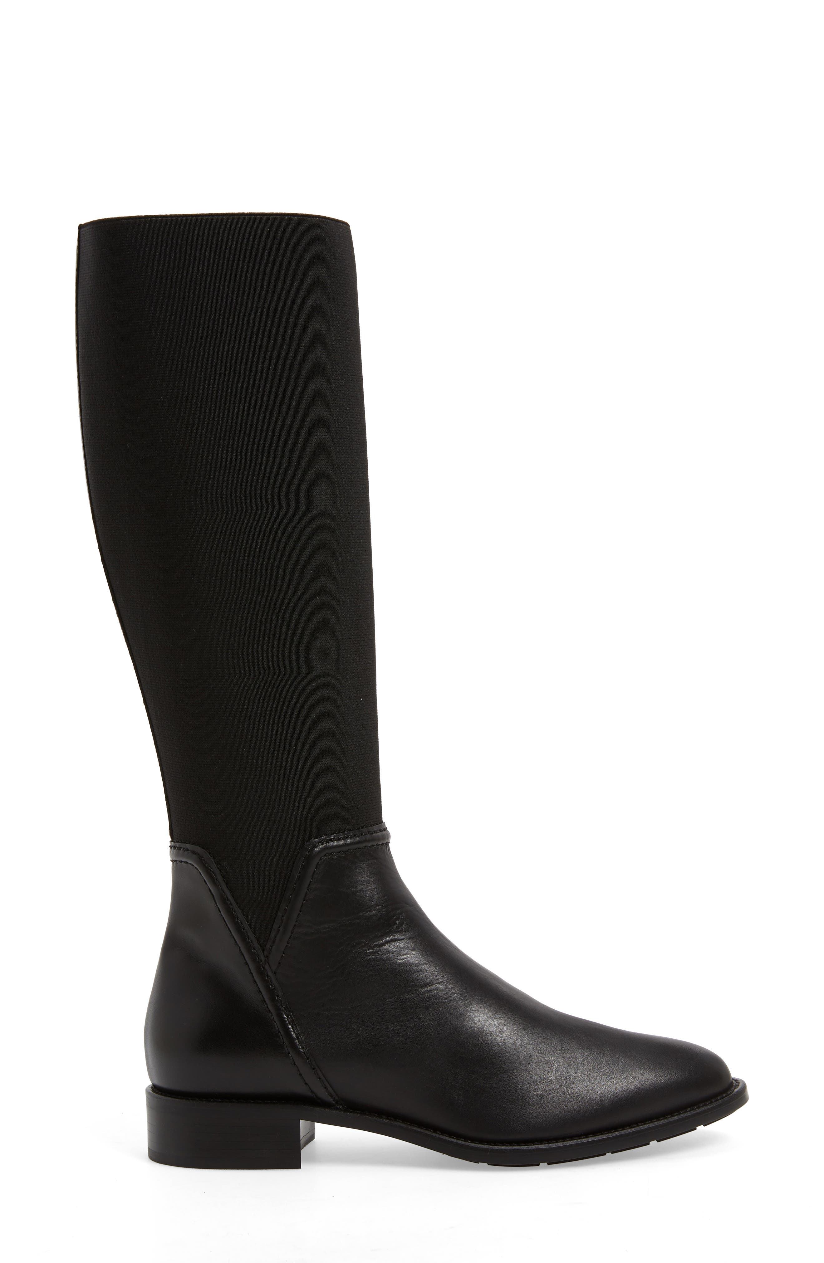 Nanina Water Resistant Riding Boot,                             Alternate thumbnail 3, color,                             BLACK