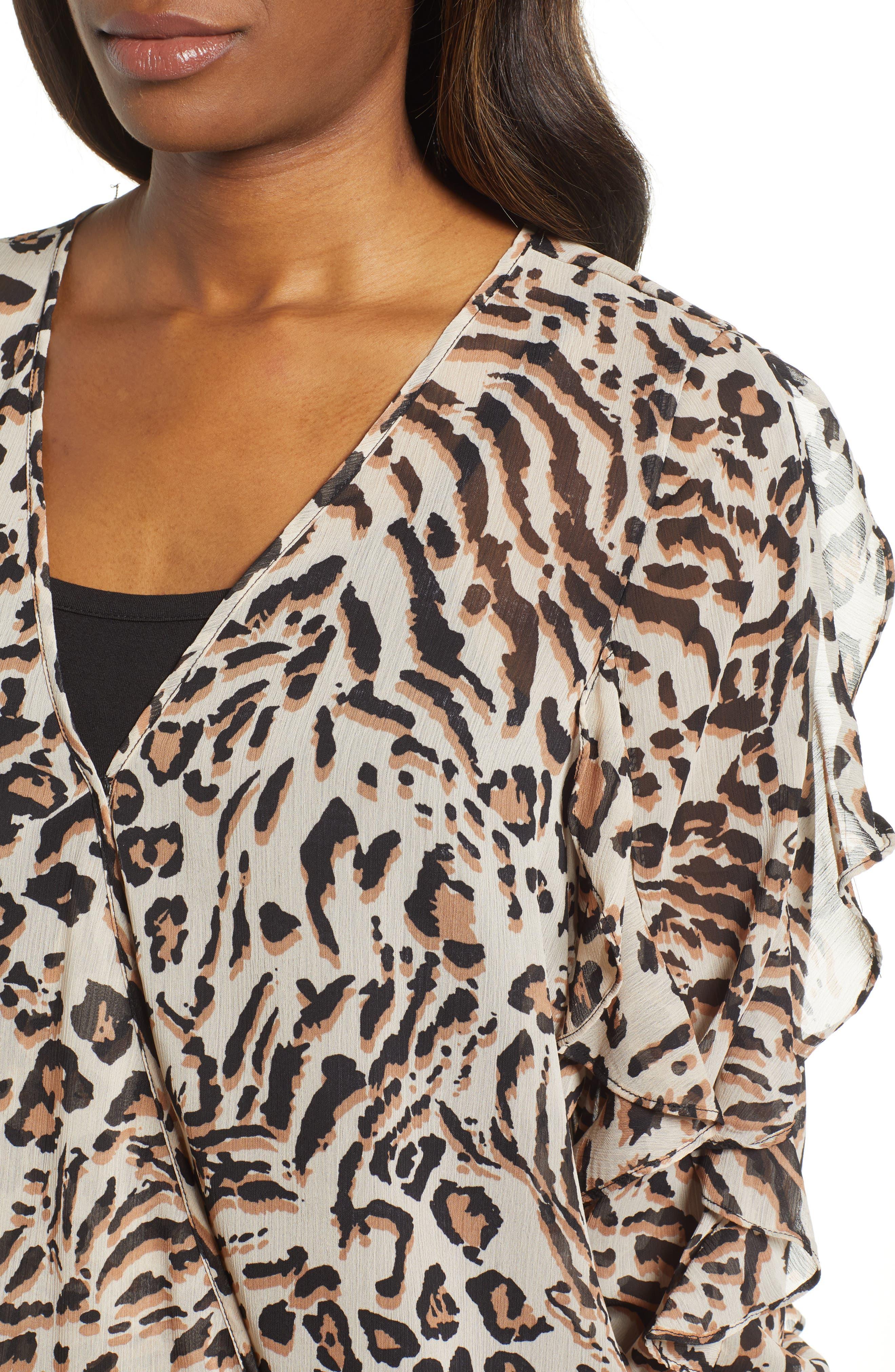WIT & WISDOM,                             Smocked Ruffle Sleeve Blouse,                             Alternate thumbnail 4, color,                             TAN/ BLACK
