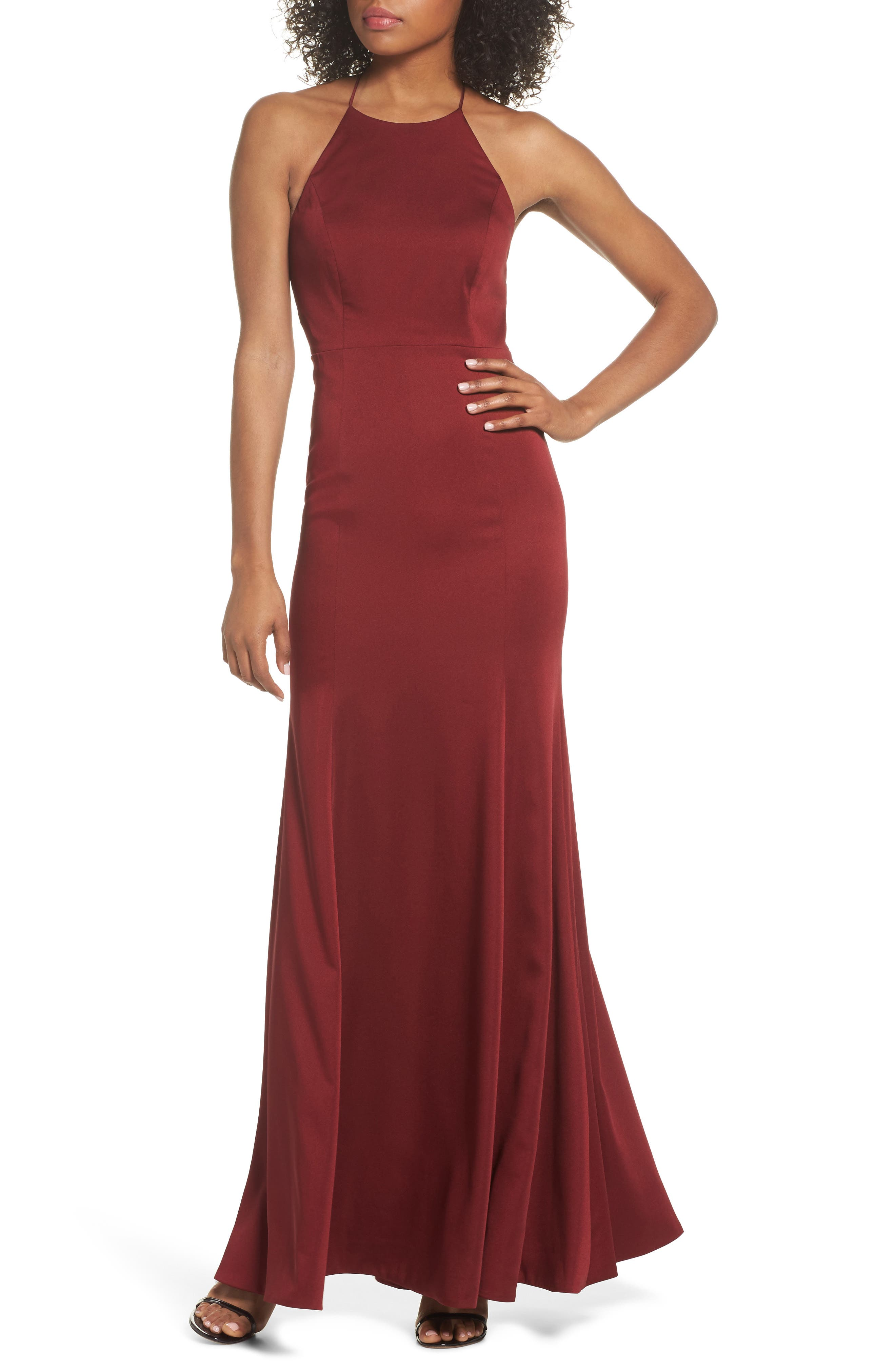 Naomi Luxe Crepe Halter Gown,                             Main thumbnail 1, color,                             CRANBERRY