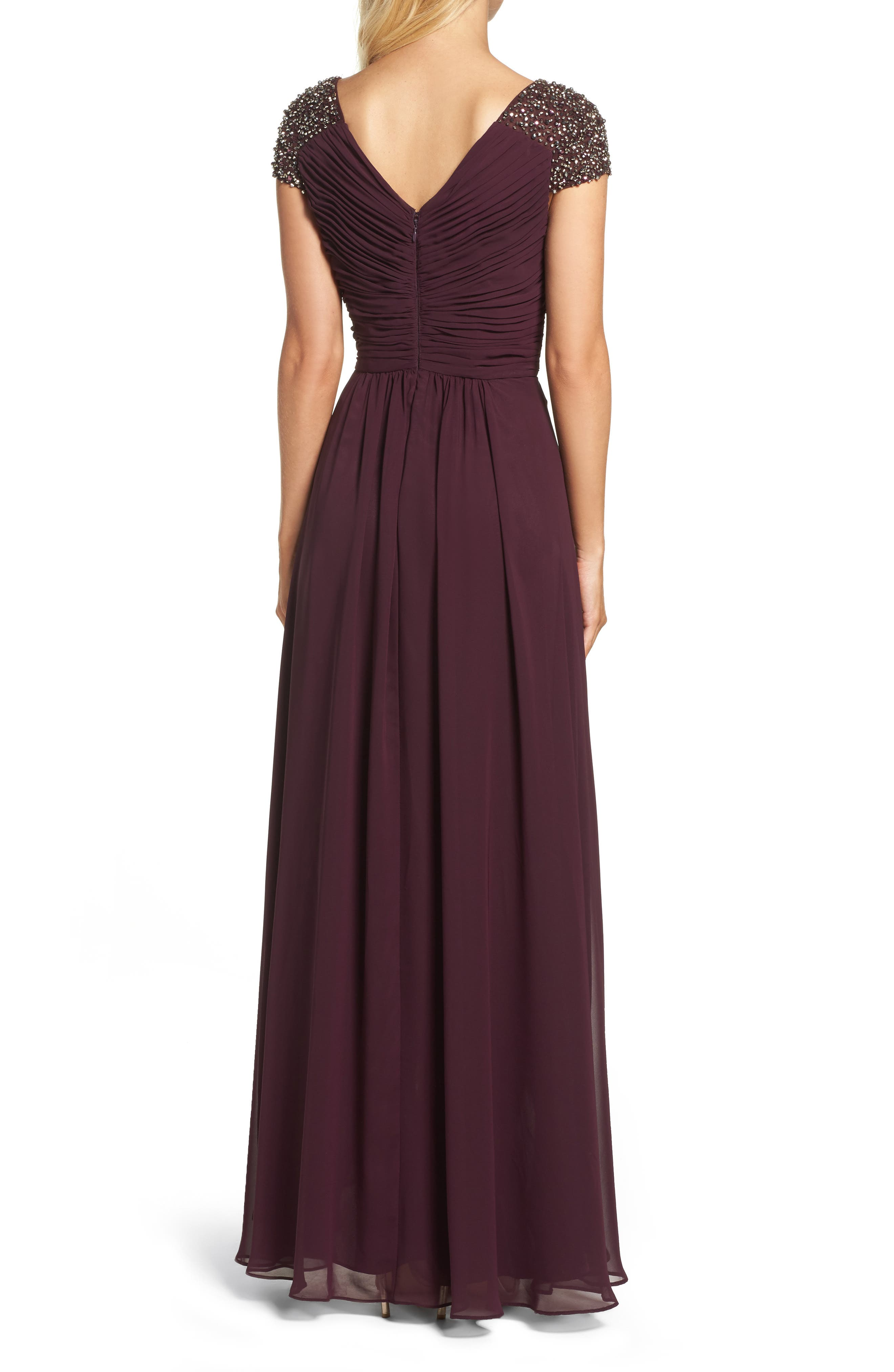 Embellished Pleated Chiffon Gown,                             Alternate thumbnail 6, color,