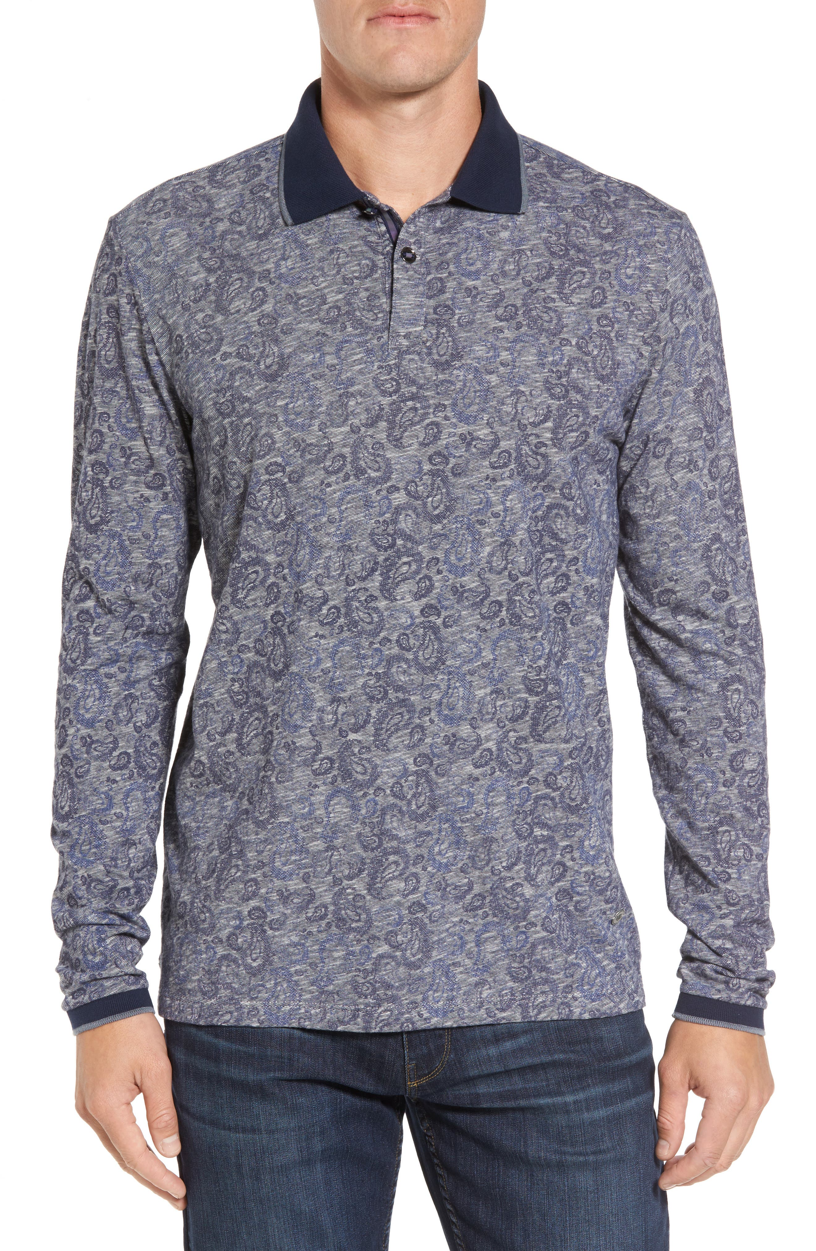 Slim Fit Paisley Long Sleeve Polo,                             Main thumbnail 1, color,