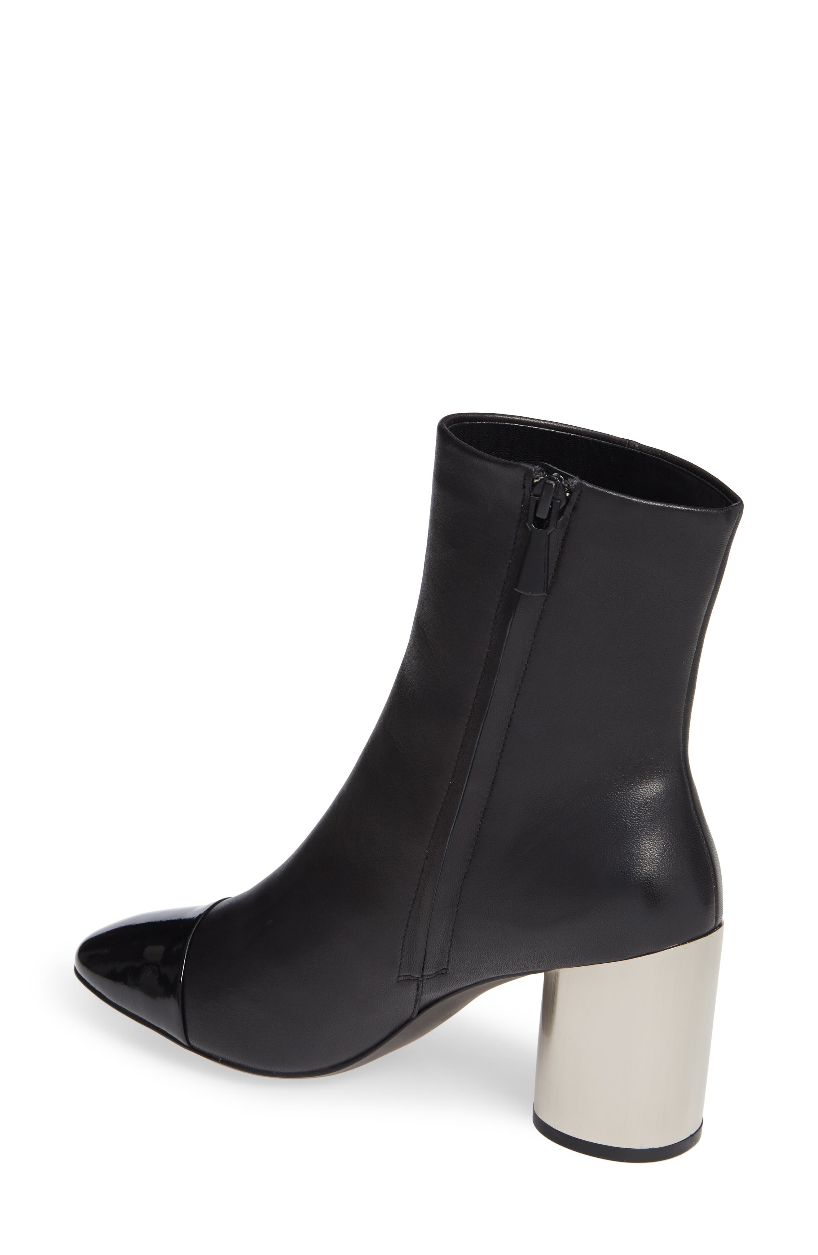 Stella Cap Toe Bootie,                             Alternate thumbnail 2, color,                             BLACK MATTE LEATHER