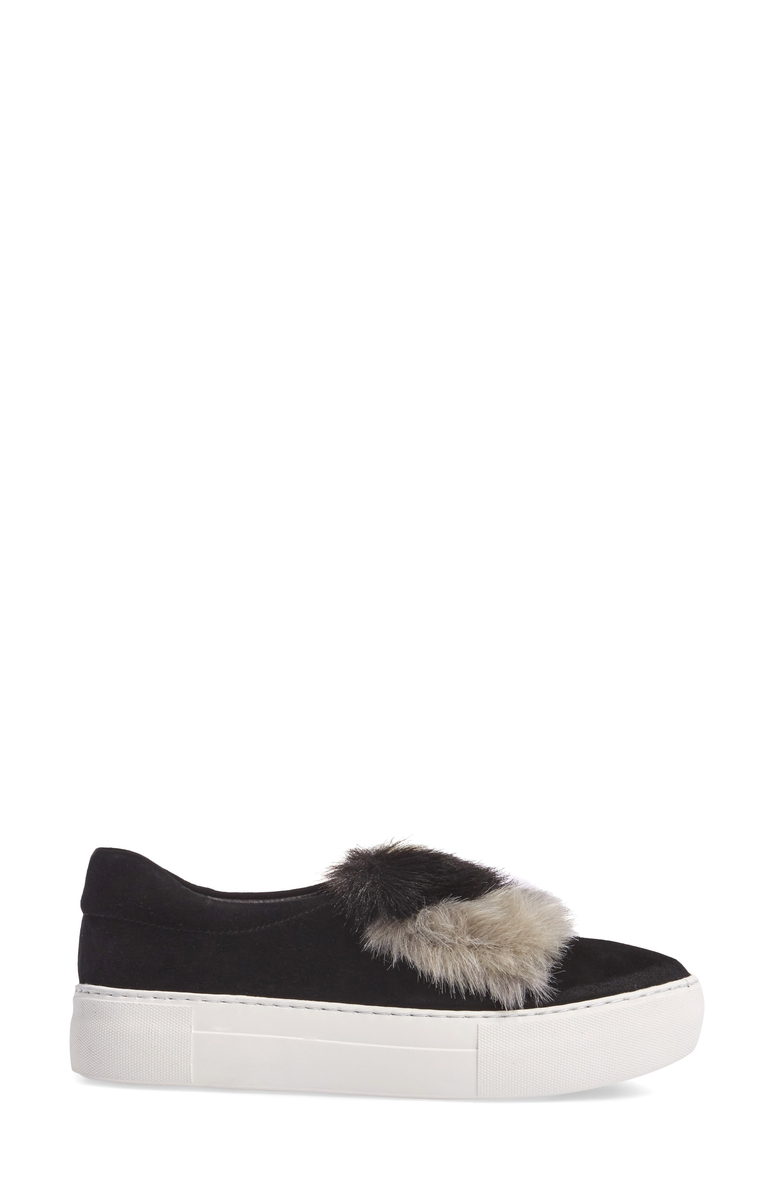 JSLIDES,                             Alexi Faux Fur Slip-On Sneaker,                             Alternate thumbnail 3, color,                             002