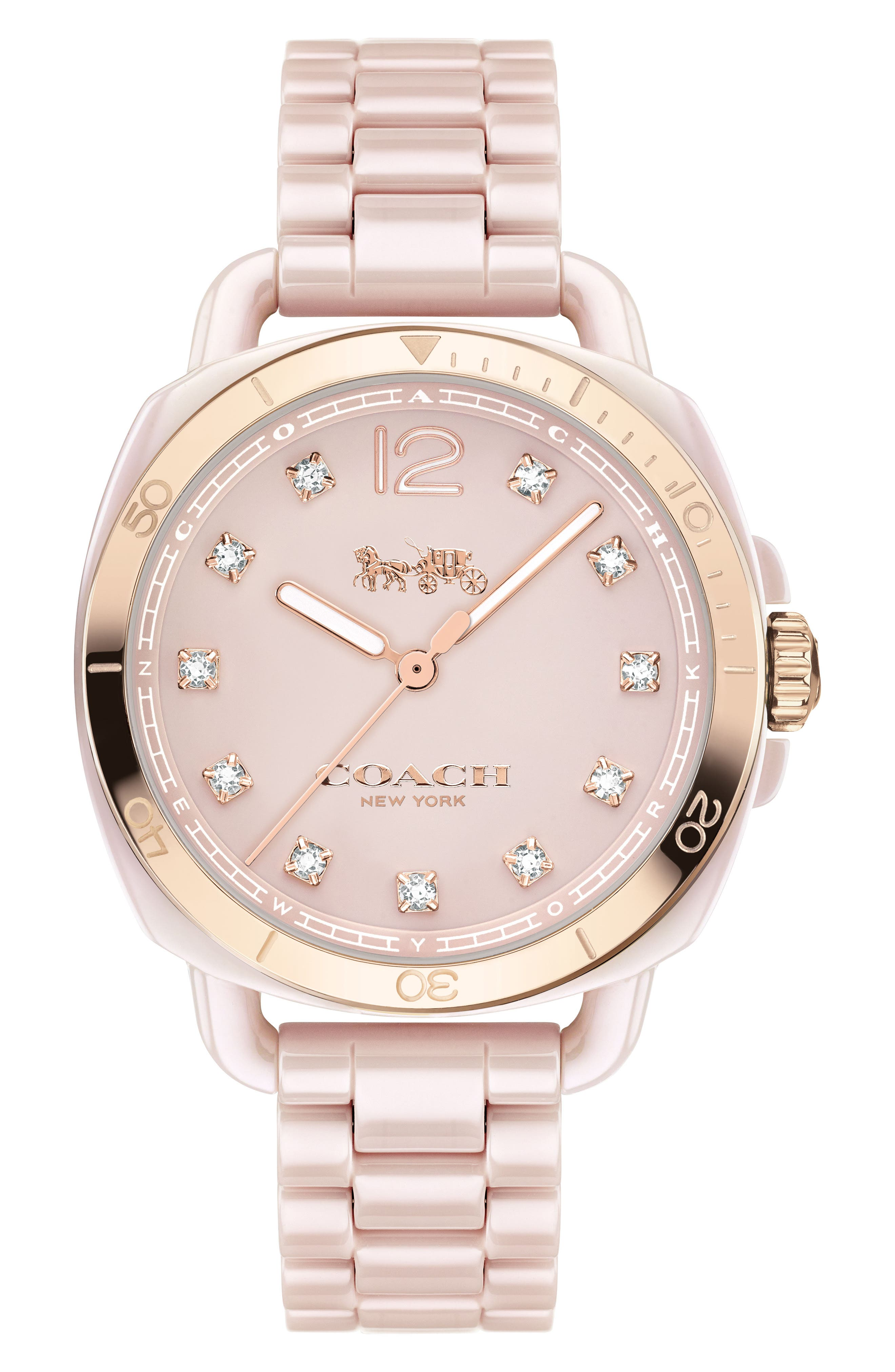 Tatum Ceramic Bracelet Watch, 34mm,                             Main thumbnail 1, color,                             PINK