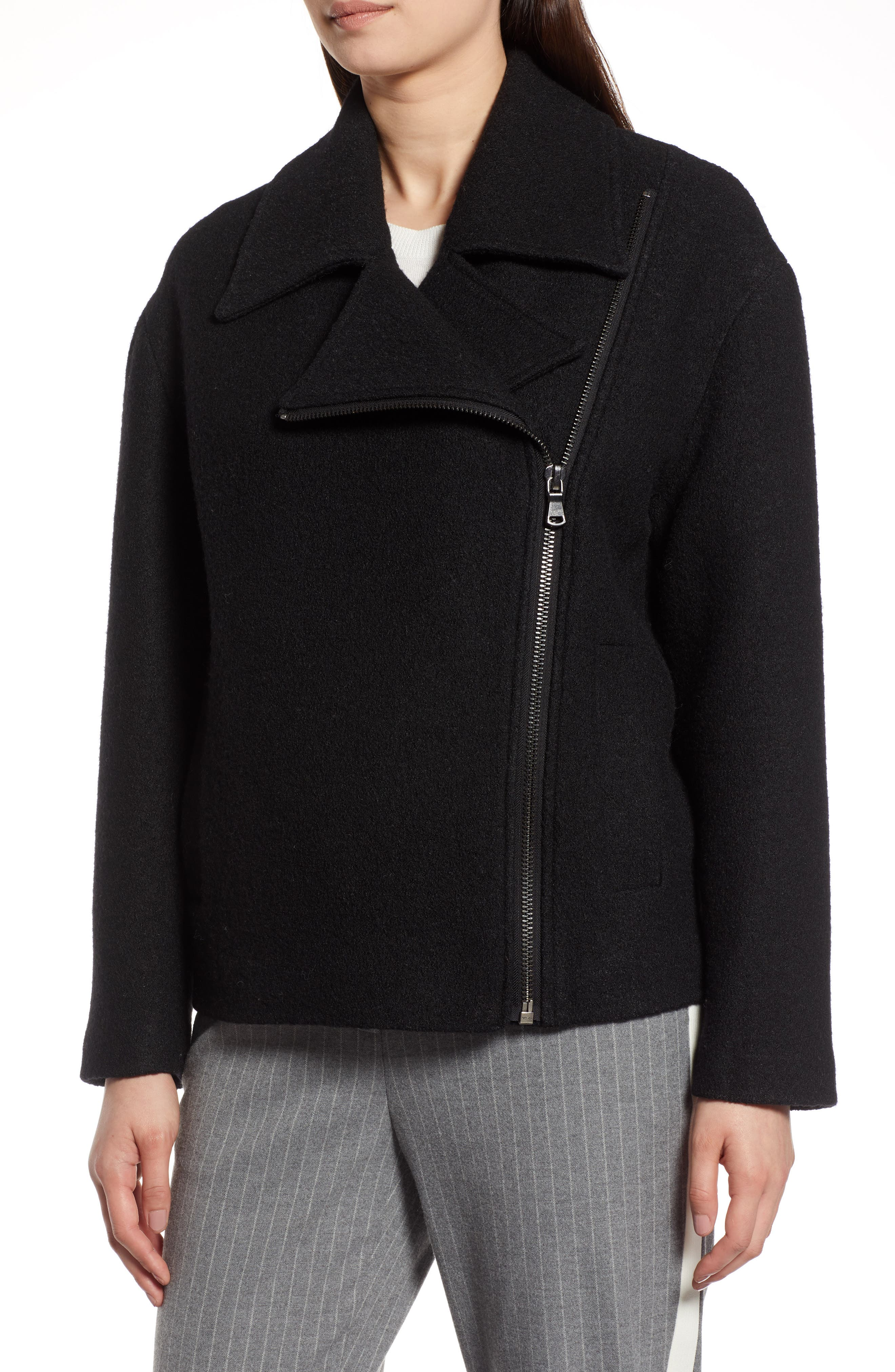 Boiled Wool Blend Moto Jacket,                             Alternate thumbnail 4, color,                             001