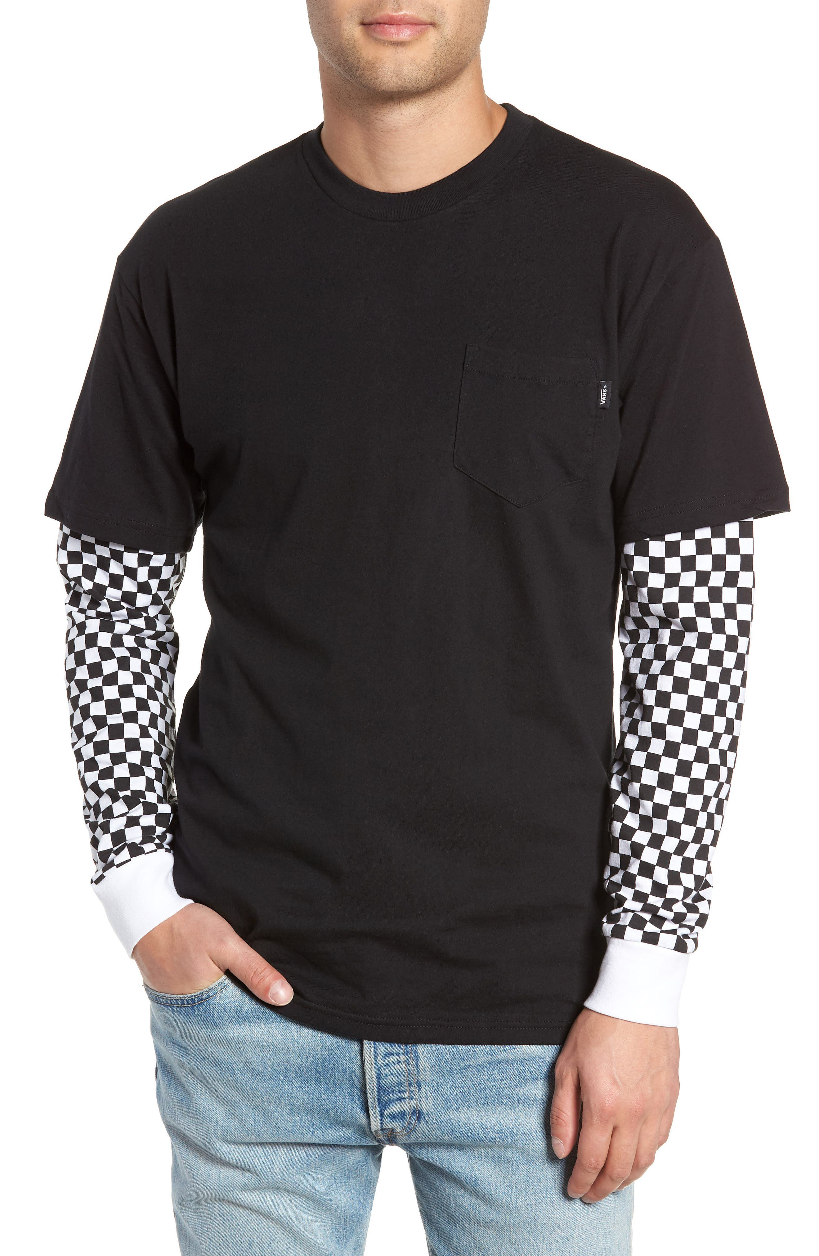 Checker Sleeve T-Shirt,                         Main,                         color, 001