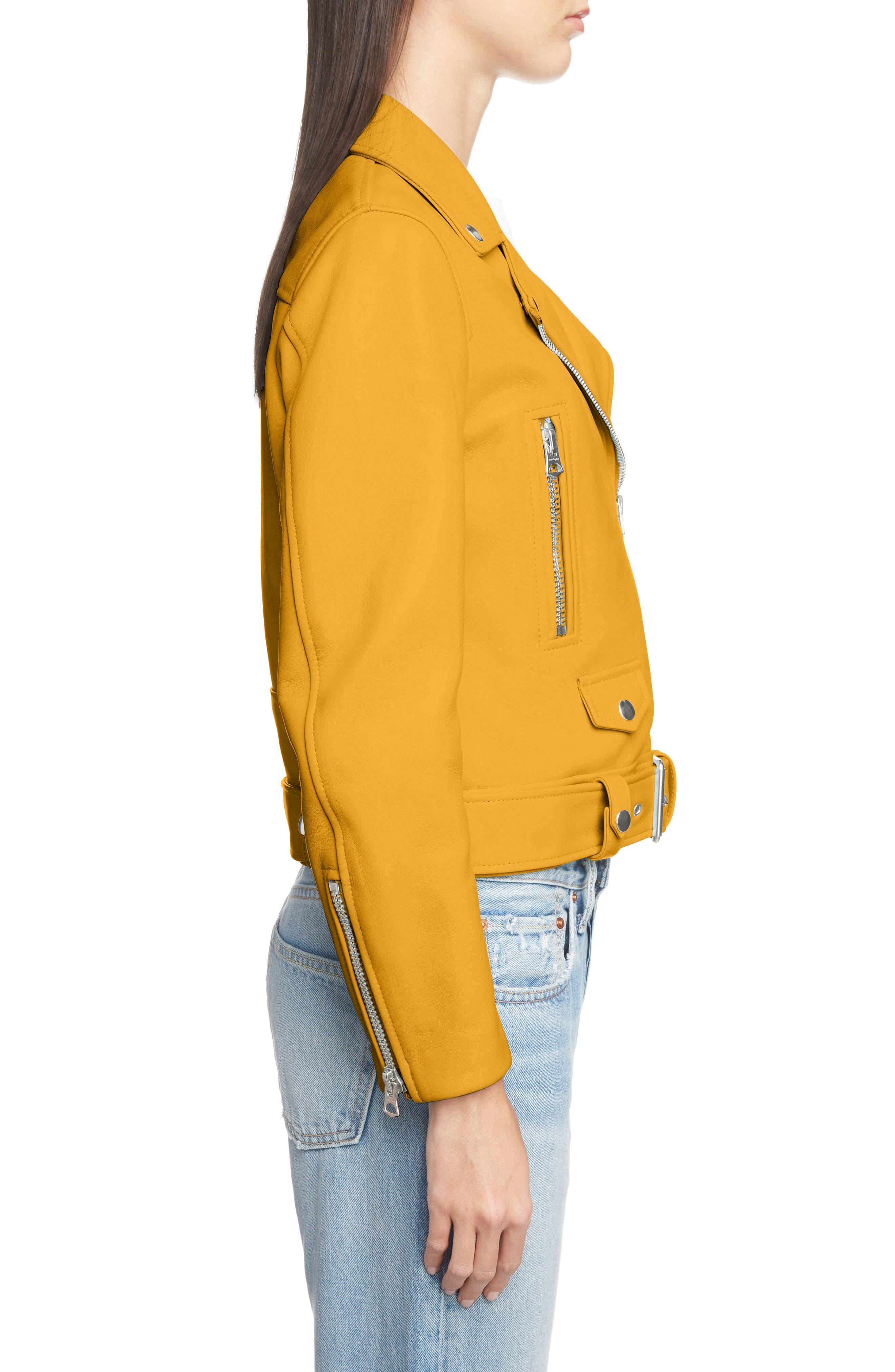 Mock Core Leather Moto Jacket,                             Alternate thumbnail 3, color,                             SUNFLOWER YELLOW