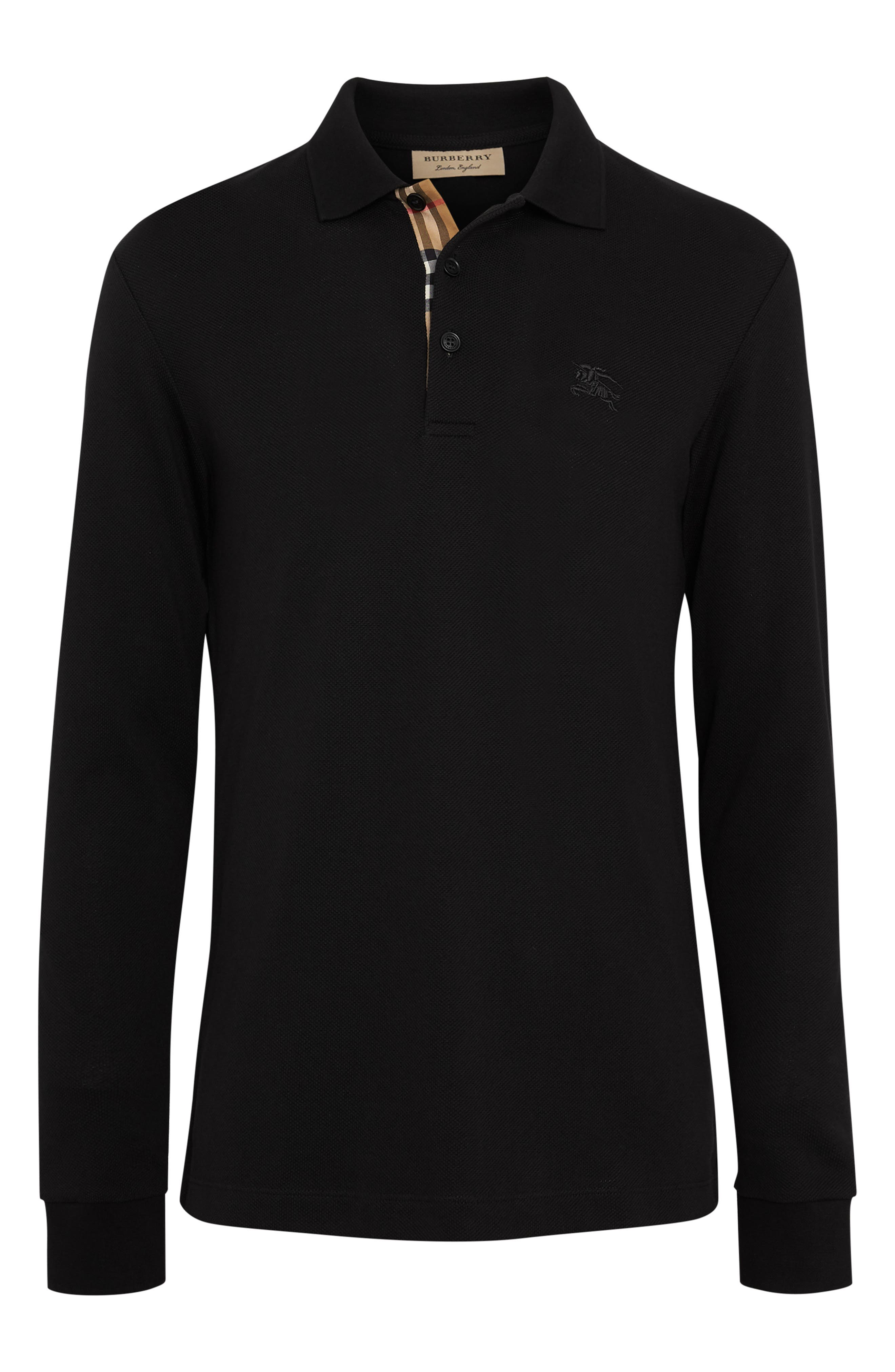 Hartford Long Sleeve Polo,                             Alternate thumbnail 4, color,                             BLACK