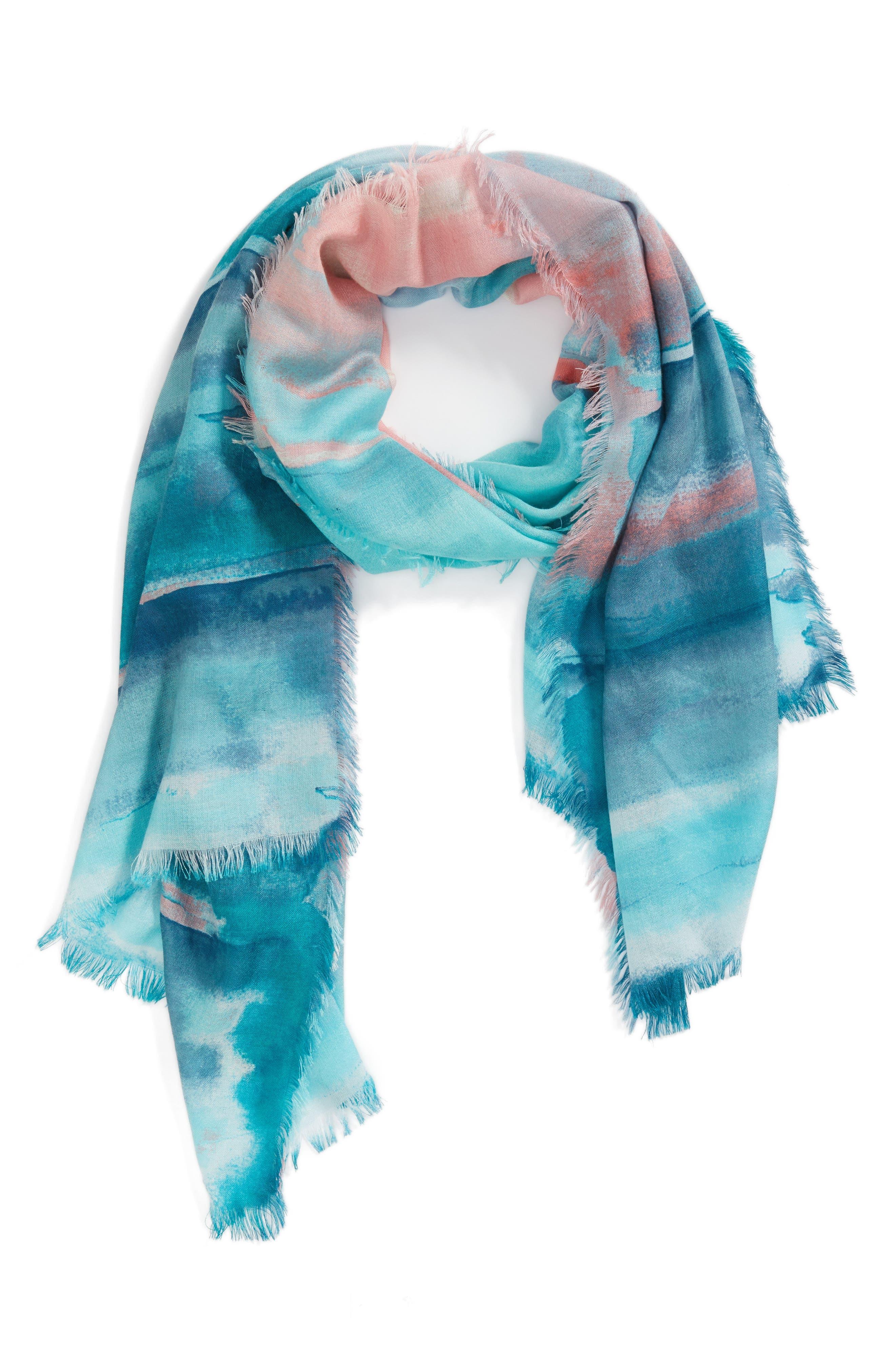 Eyelash Trim Print Cashmere & Silk Wrap,                             Alternate thumbnail 46, color,