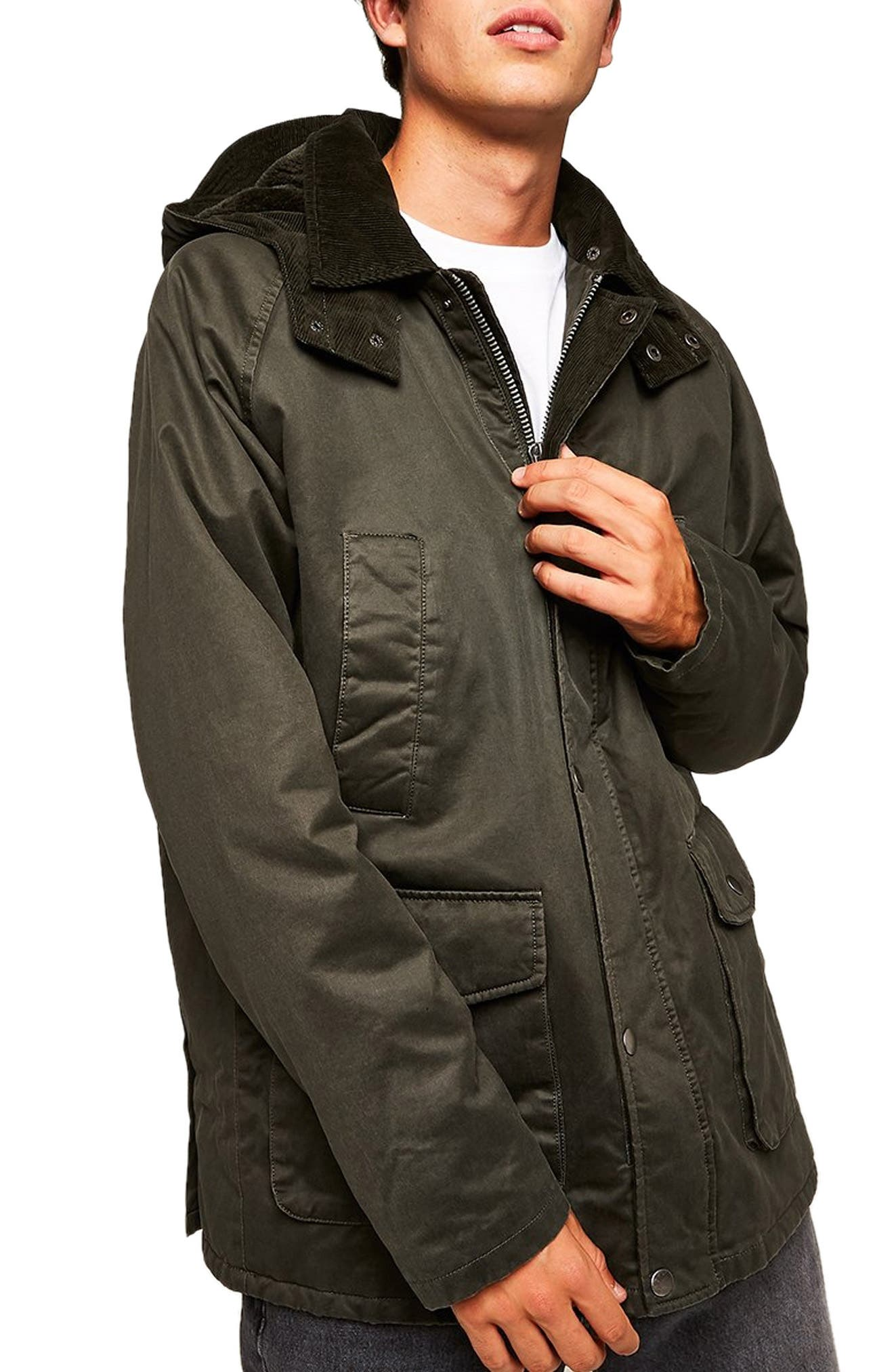 Cotton Blend Parka,                             Main thumbnail 1, color,                             OLIVE