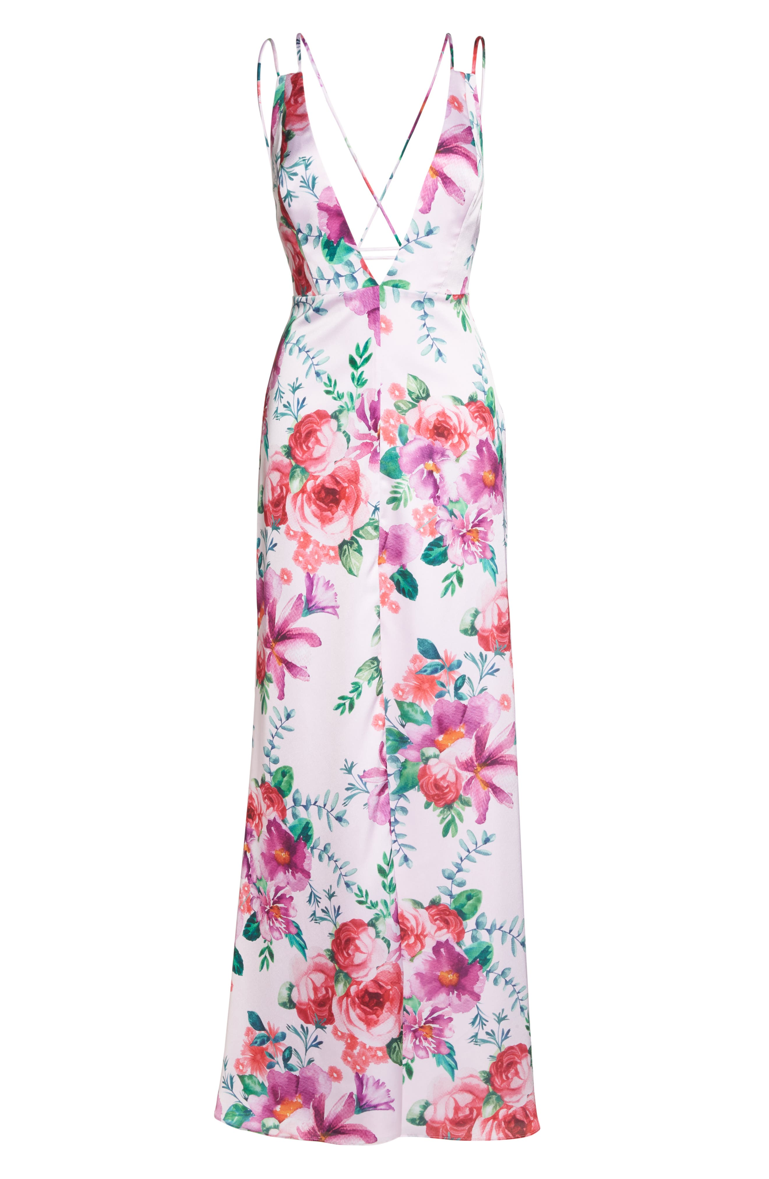 The Rylee Floral Strappy Gown,                             Alternate thumbnail 7, color,                             653
