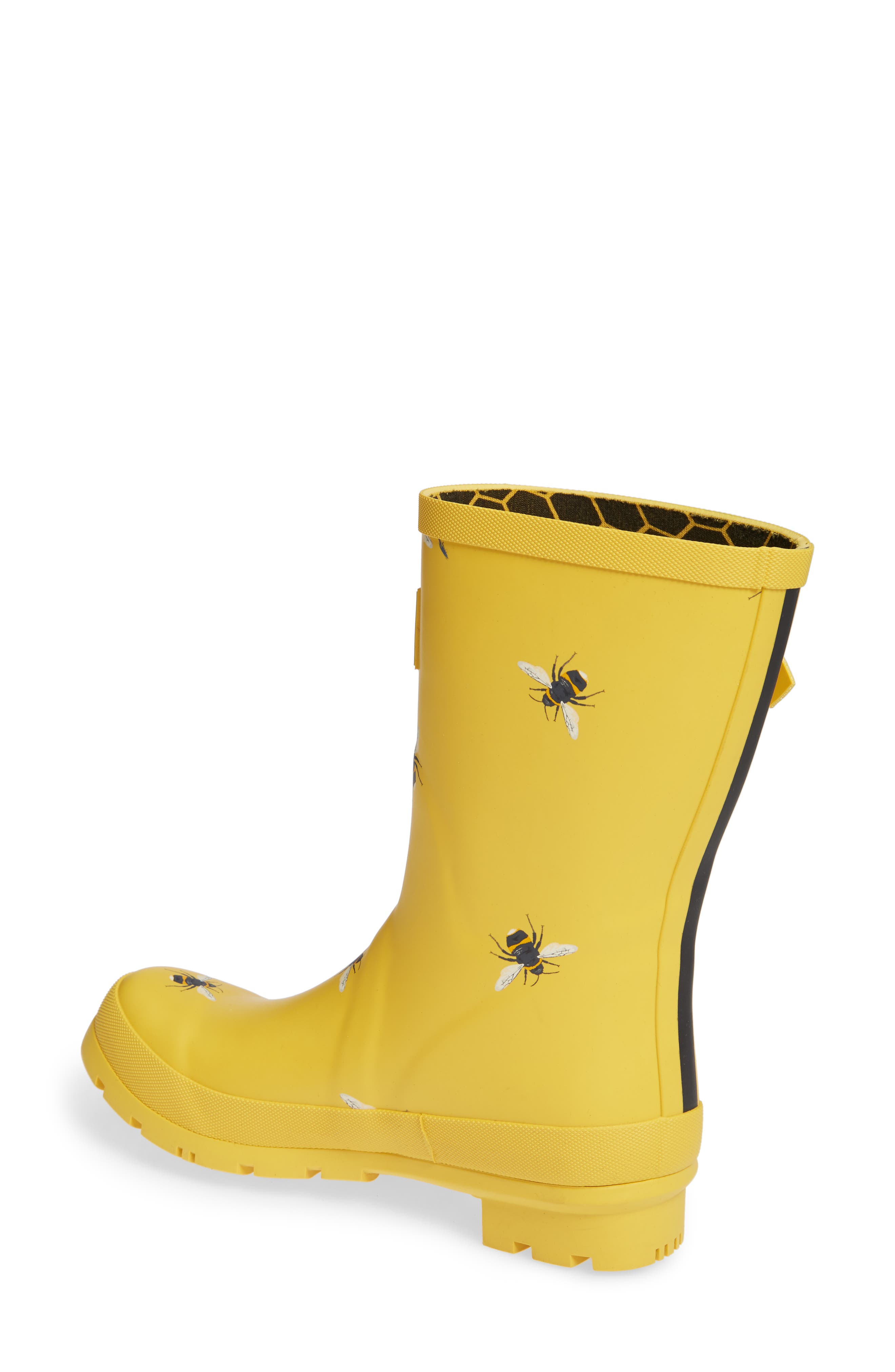 Print Molly Welly Rain Boot,                             Alternate thumbnail 2, color,                             GOLD BOTANICAL BEES