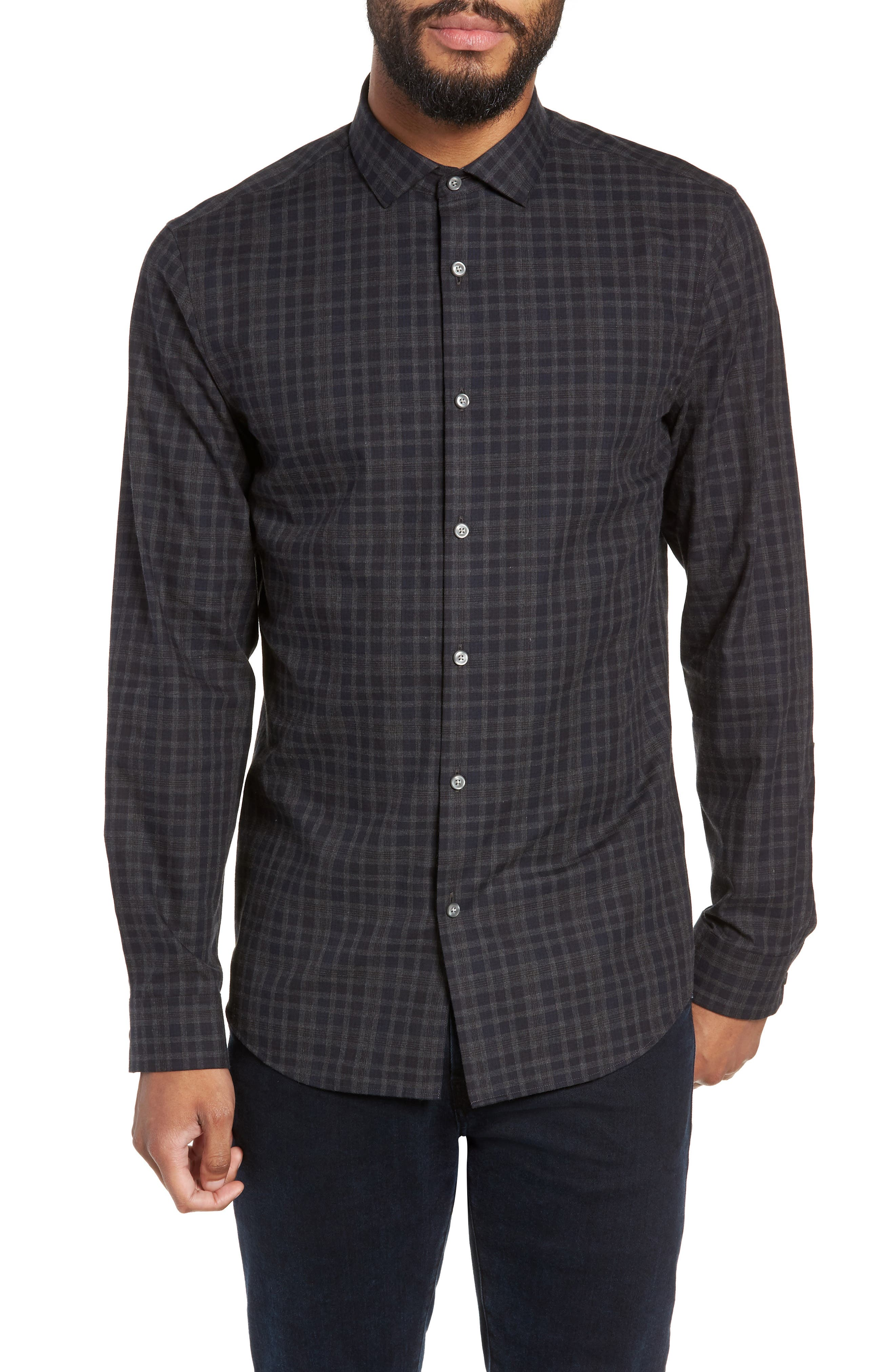 Slim Fit Check Flannel Sport Shirt,                         Main,                         color, BLACK HEATHER NAVY CHECK
