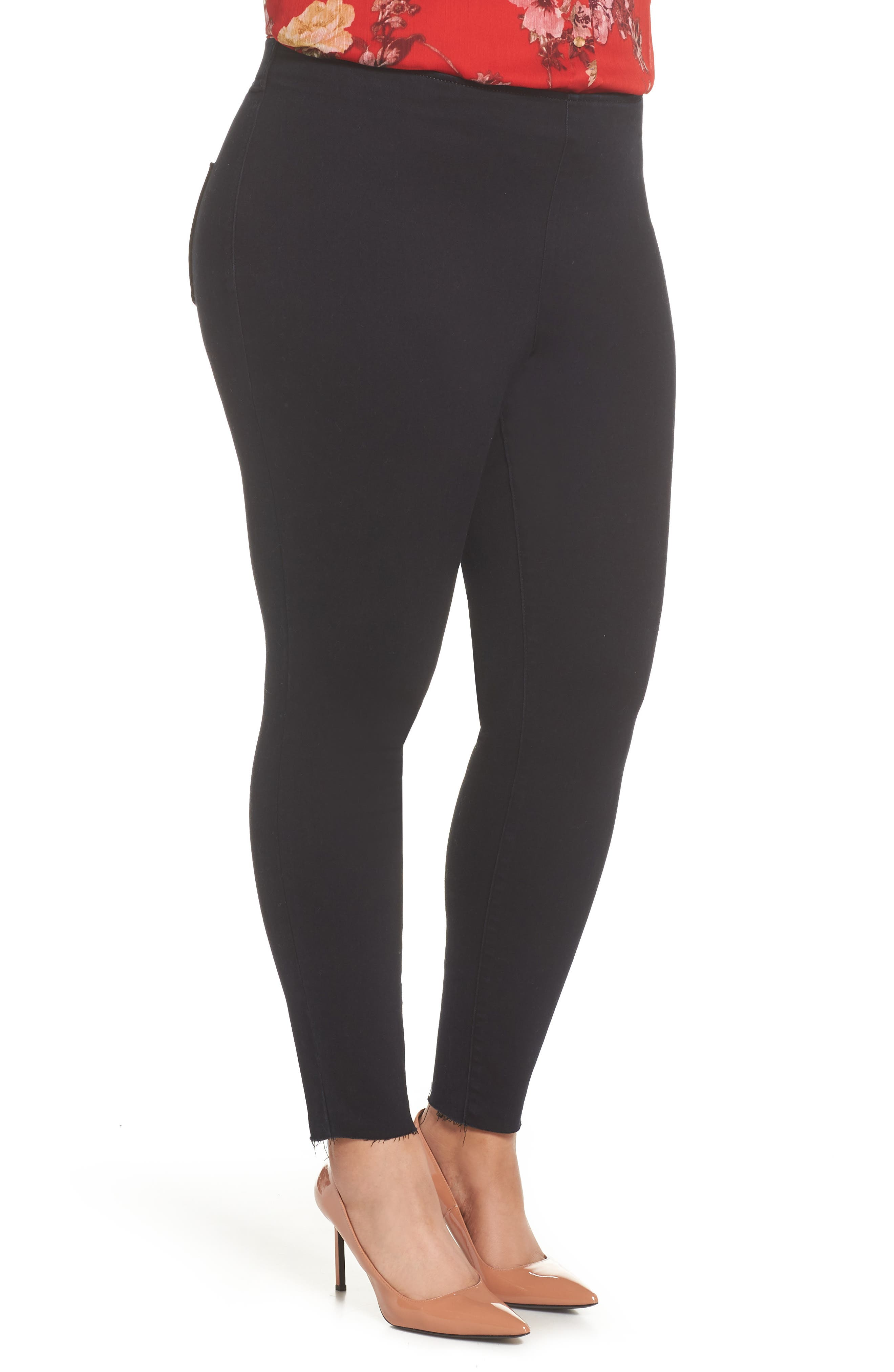 Super Stretch Denim Leggings,                             Alternate thumbnail 3, color,                             RICH BLACK