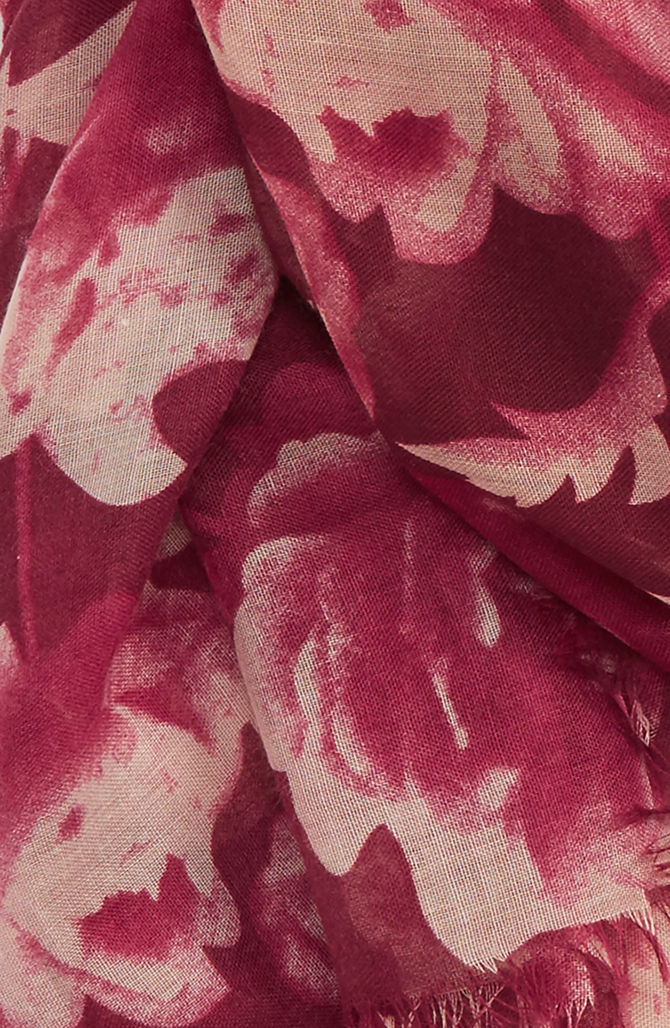 Floral Print Scarf,                             Alternate thumbnail 3, color,                             600