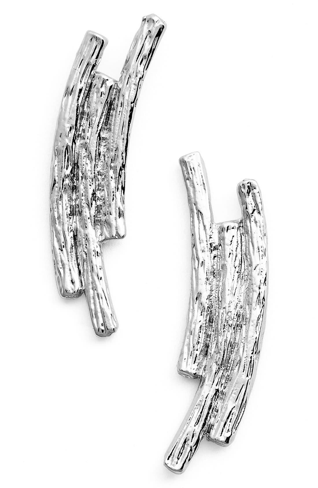 Three Row Drop Earrings,                             Main thumbnail 1, color,                             SILVER