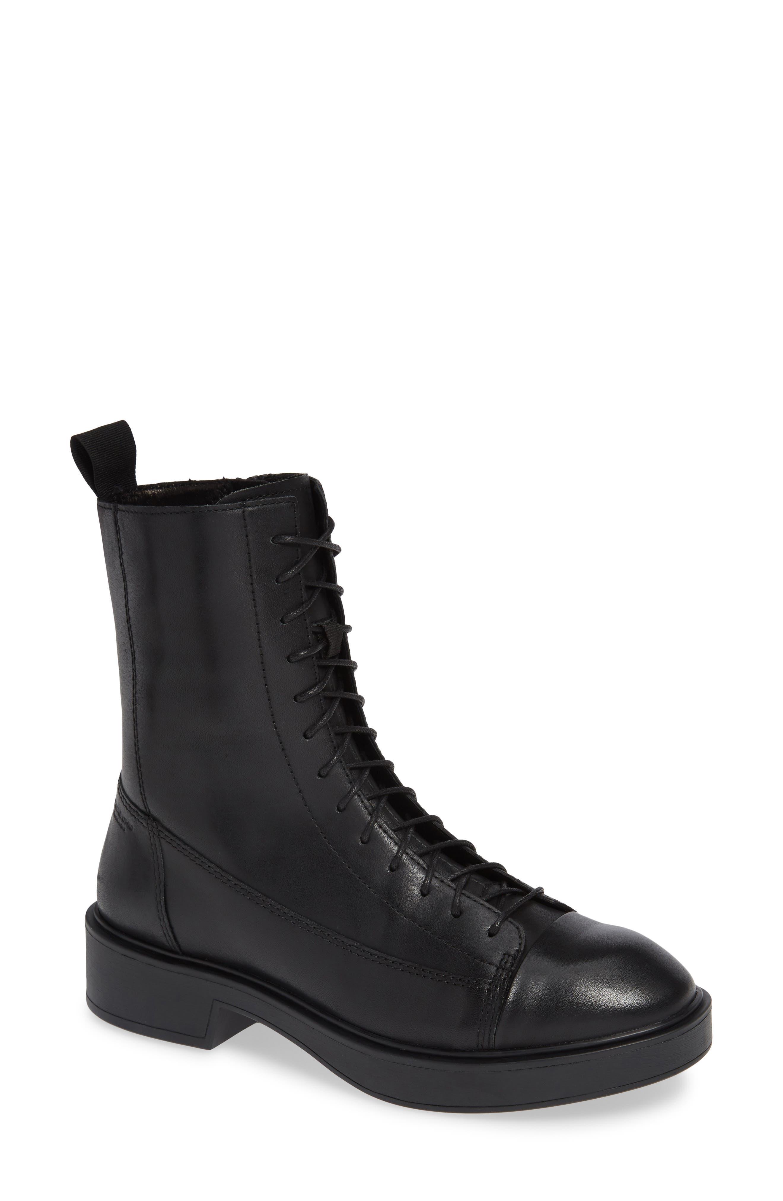 Shoemakers Diane Lace-Up Bootie,                             Main thumbnail 1, color,                             BLACK LEATHER