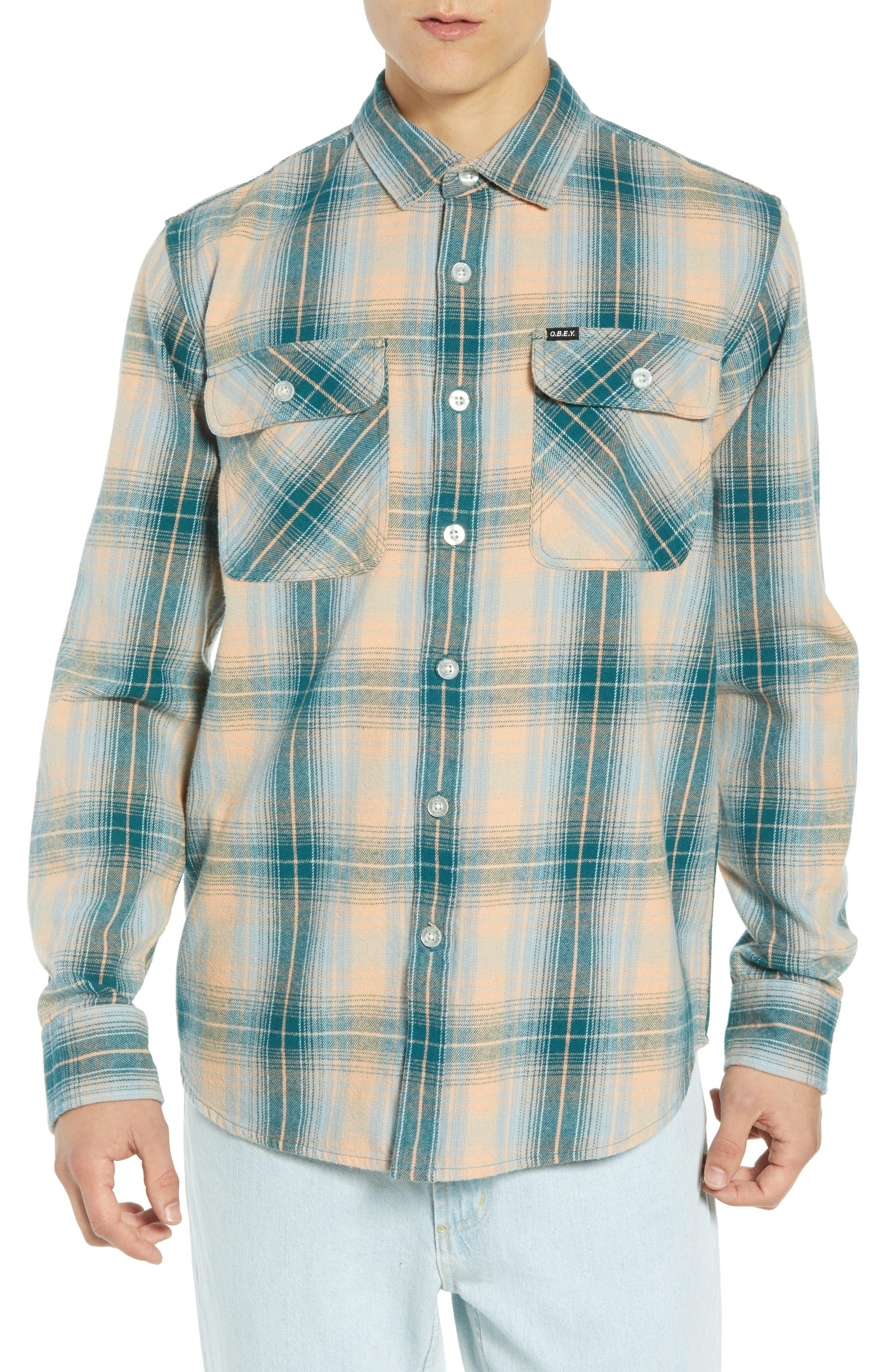 Continental Plaid Flannel Shirt,                             Main thumbnail 1, color,                             PINE MULTI