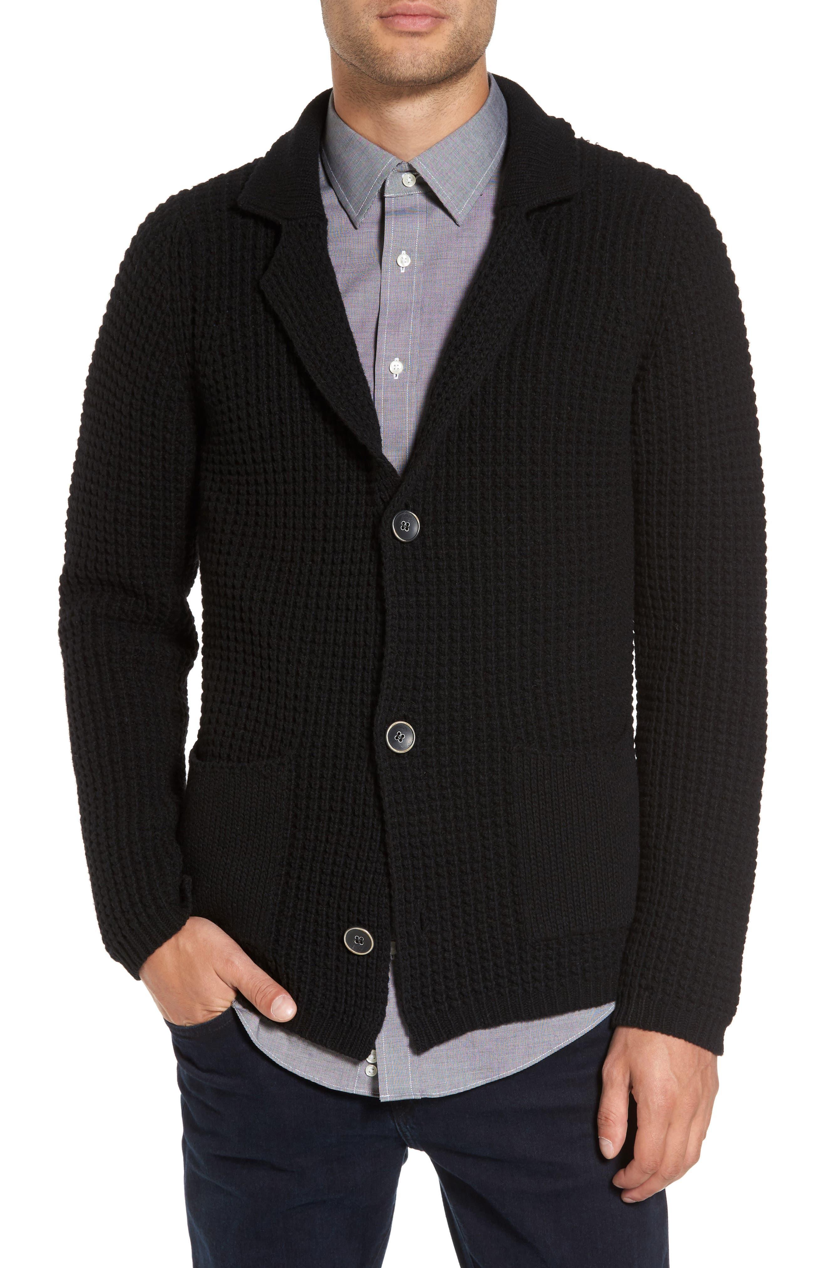 Trim Fit Knit Cardigan Jacket,                             Main thumbnail 1, color,                             001