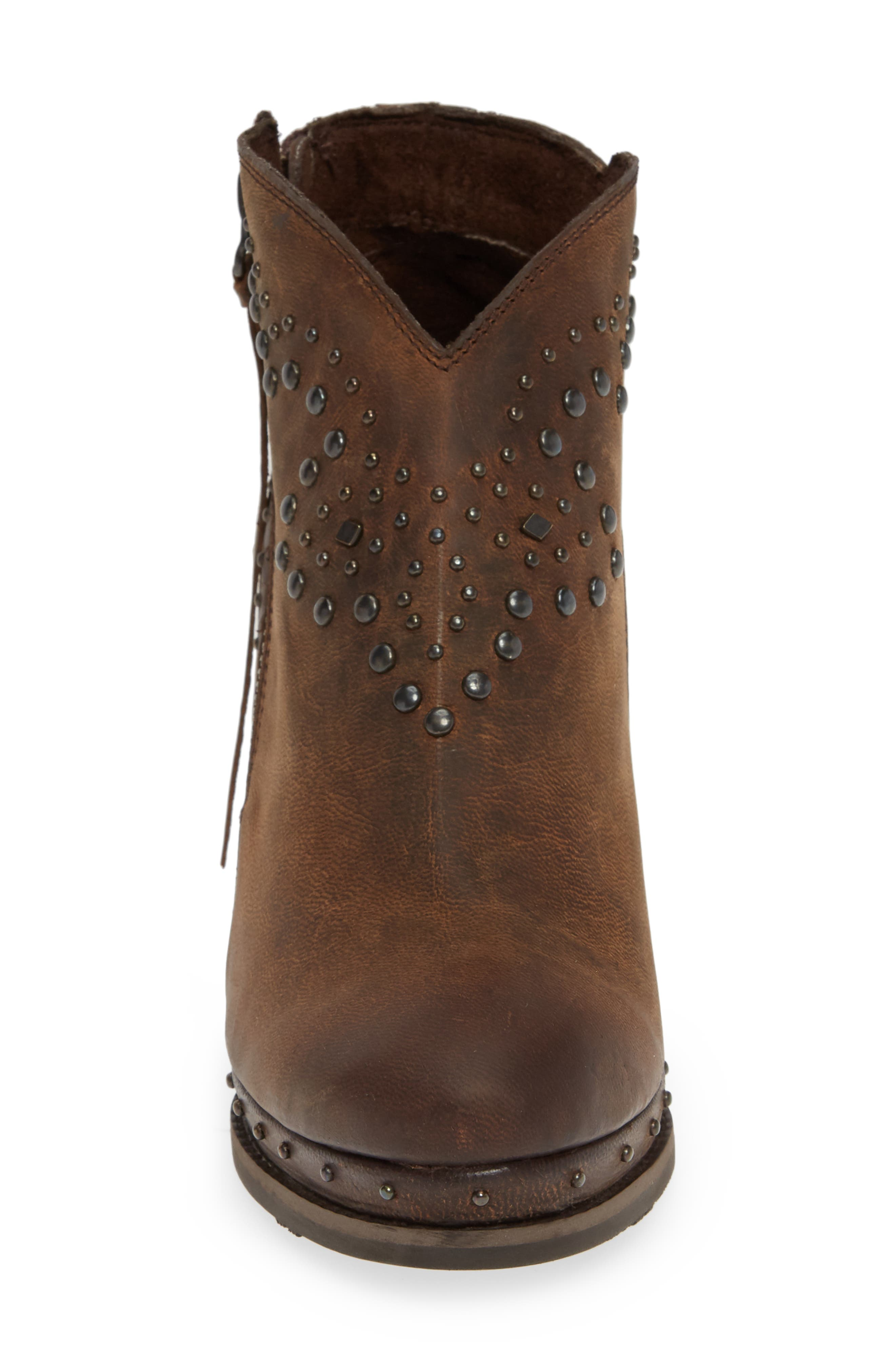 Stax Studded Wedge Bootie,                             Alternate thumbnail 4, color,                             RUSSET DIAMONDBACK TAN LEATHER