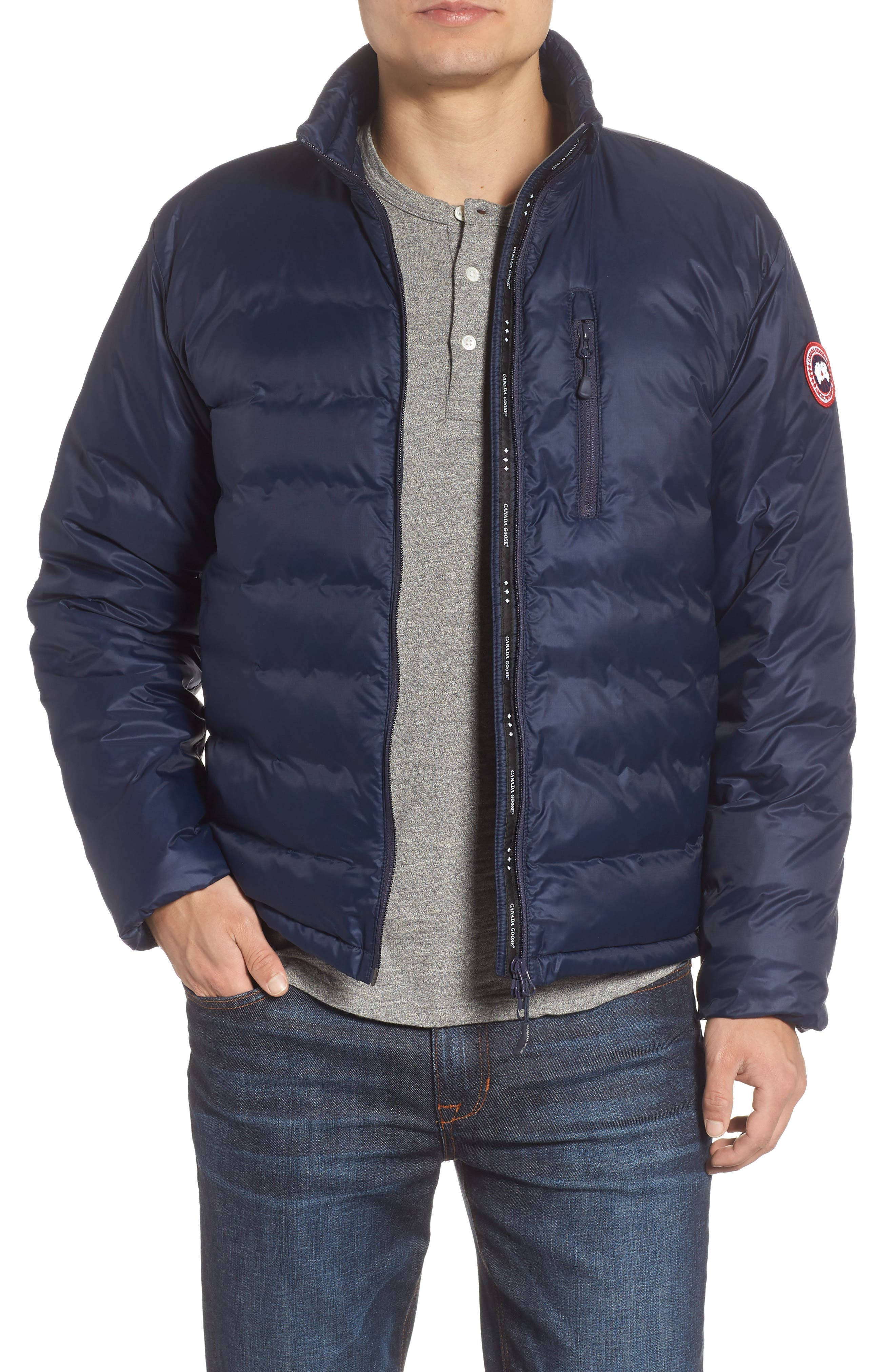 'Lodge' Slim Fit Packable Windproof 750 Down Fill Jacket,                         Main,                         color, ADMIRAL BLUE/ BLACK