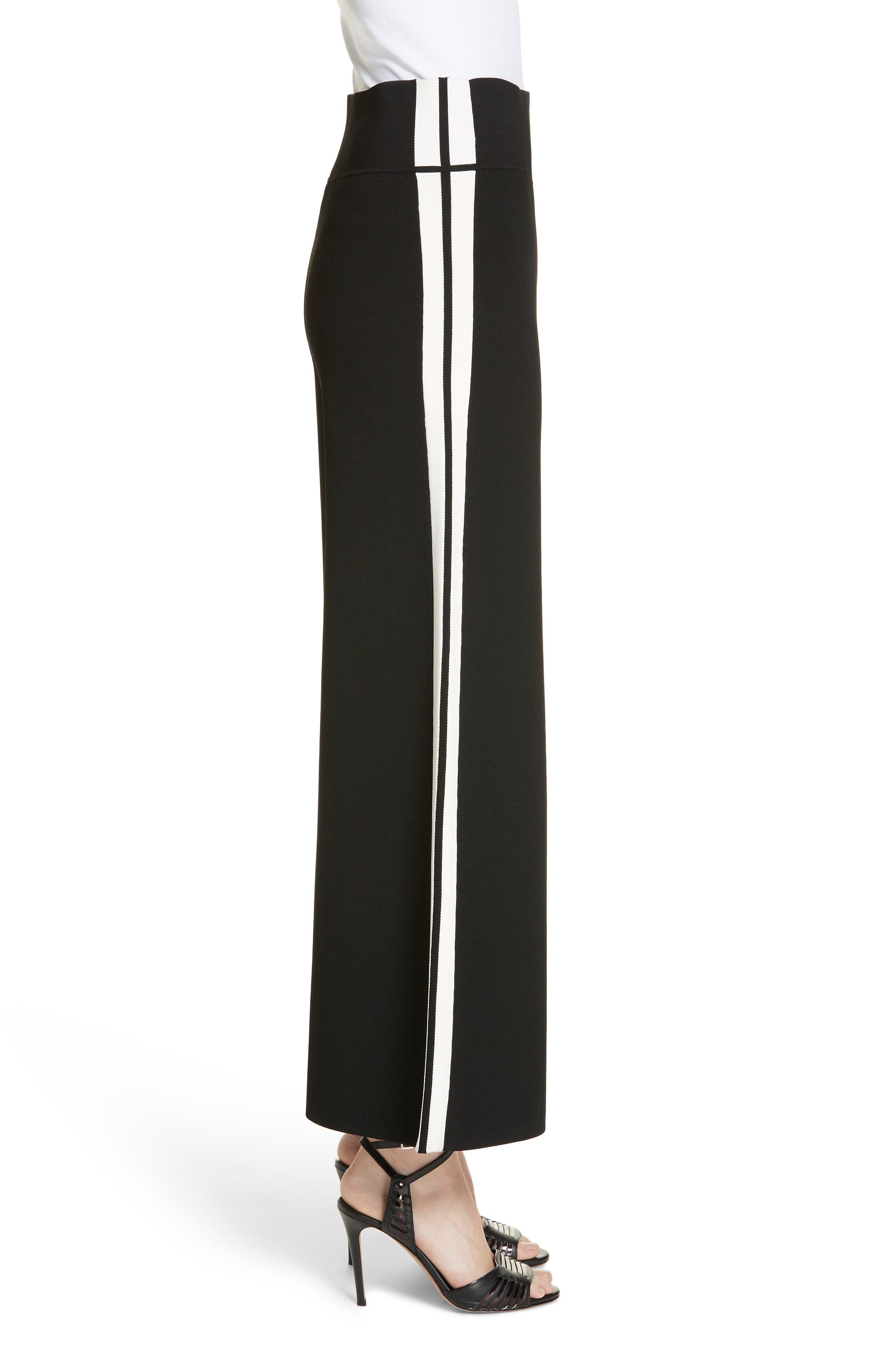 Roland Side Stripe Wide Leg Pants,                             Alternate thumbnail 3, color,                             BLACK