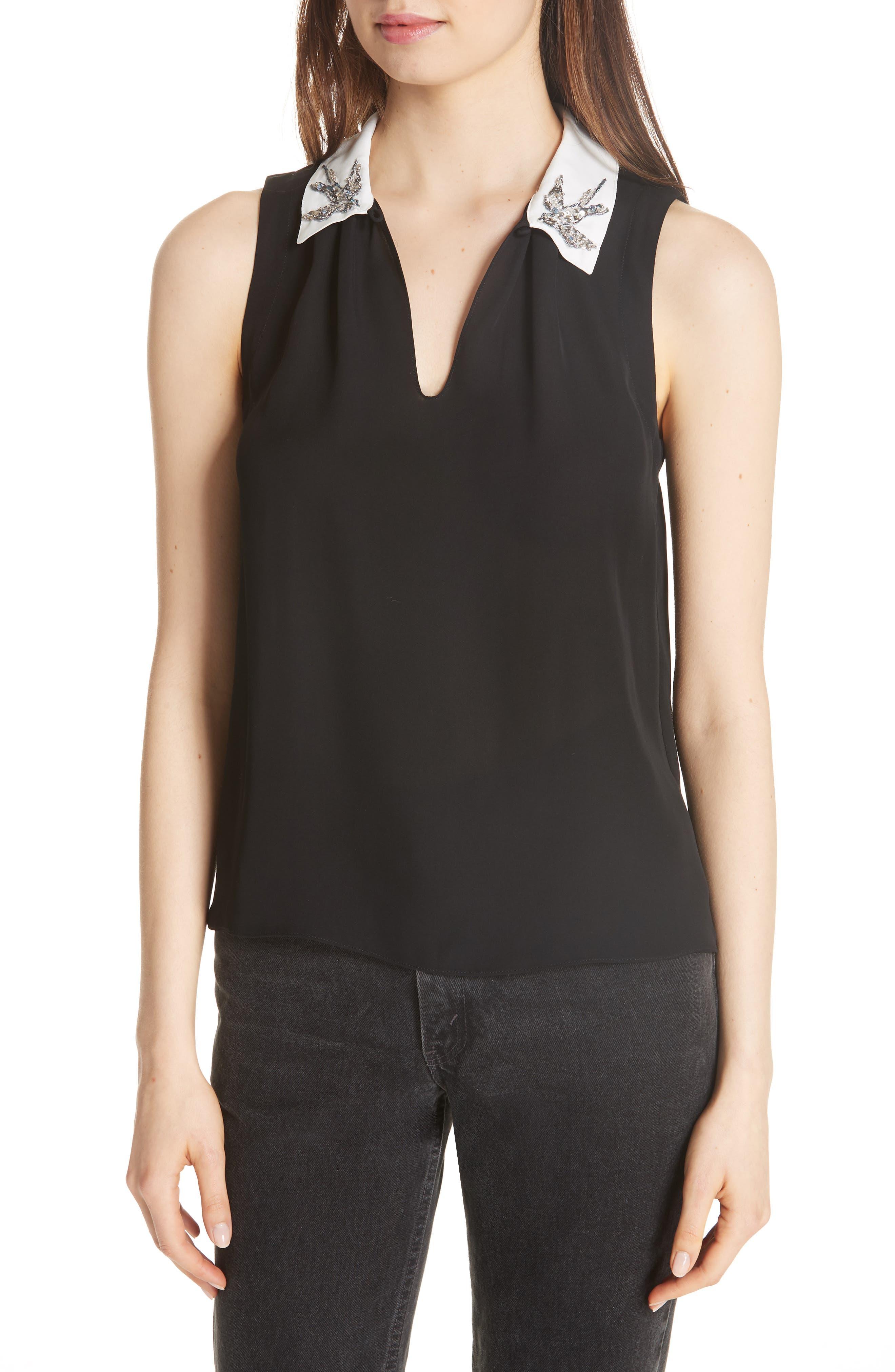 Bird Appliqué Sleeveless Silk Top,                         Main,                         color, BLACK