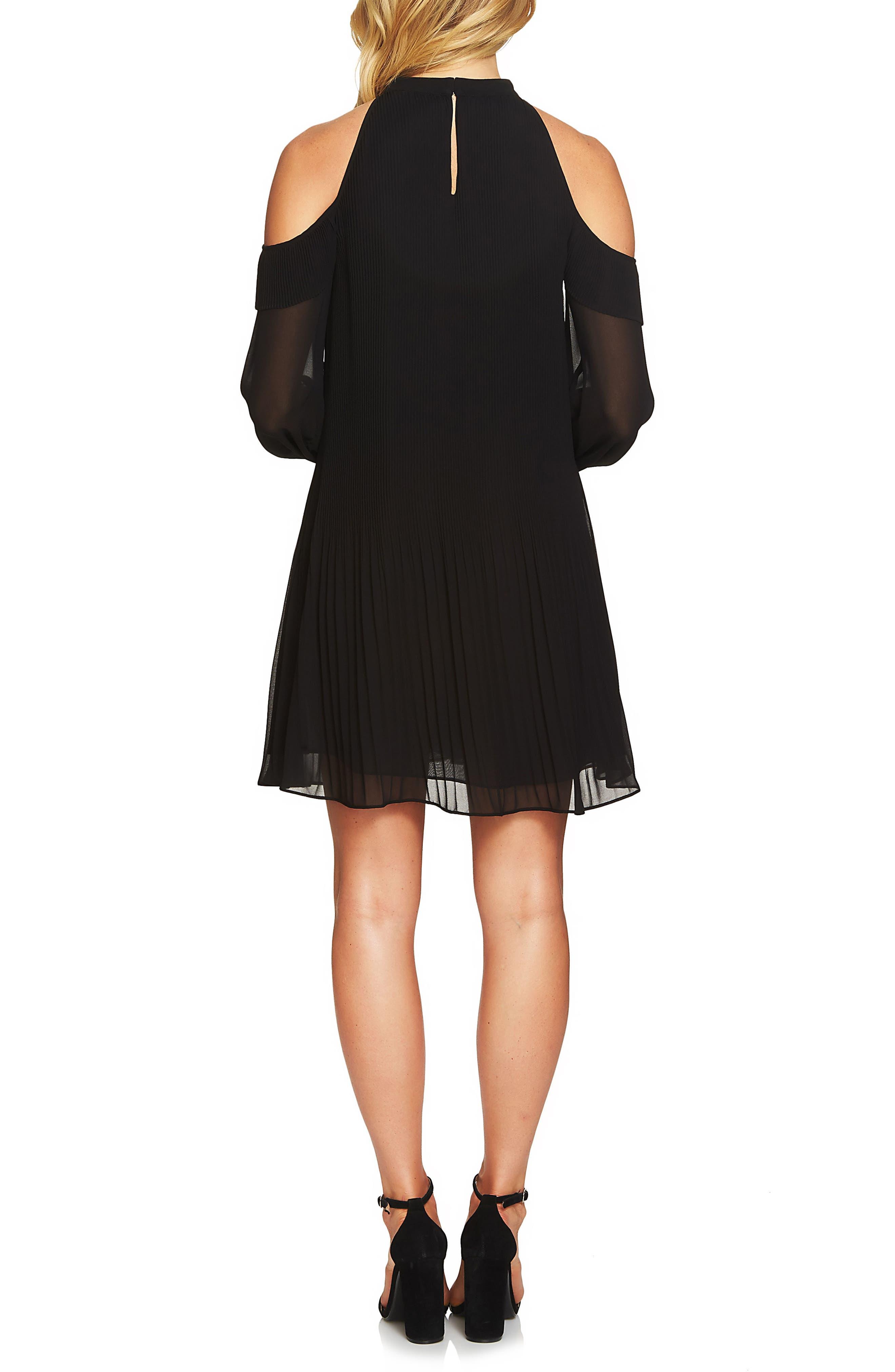 Noelle Cold Shoulder Chiffon Trapeze Dress,                             Alternate thumbnail 2, color,                             010