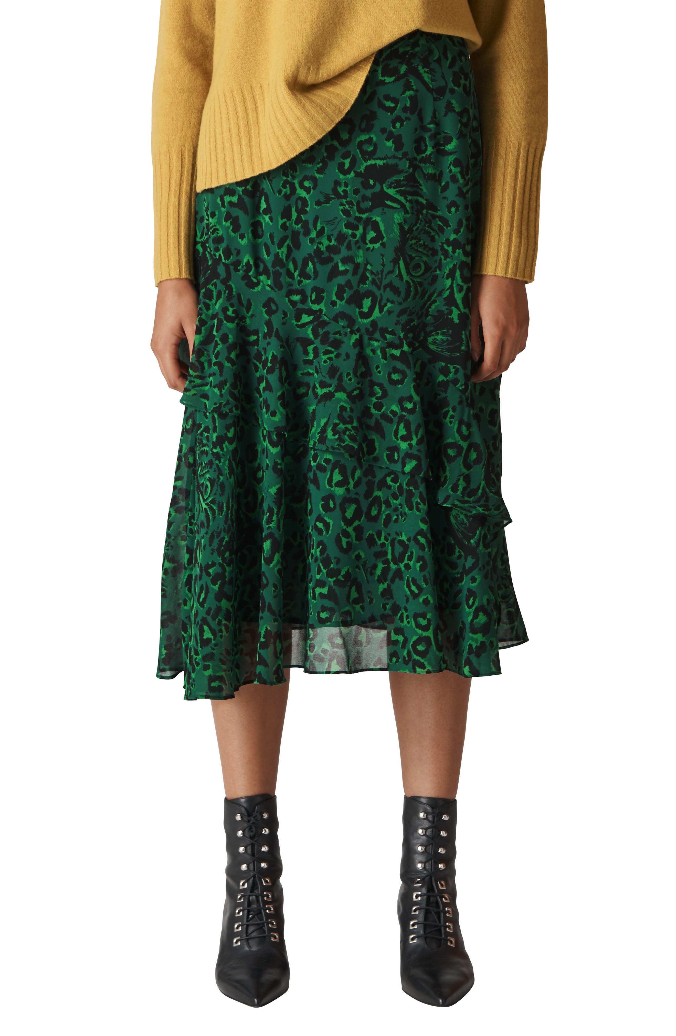 Jungle Cat Ruffle Skirt,                             Main thumbnail 1, color,                             GREEN/ MULTI