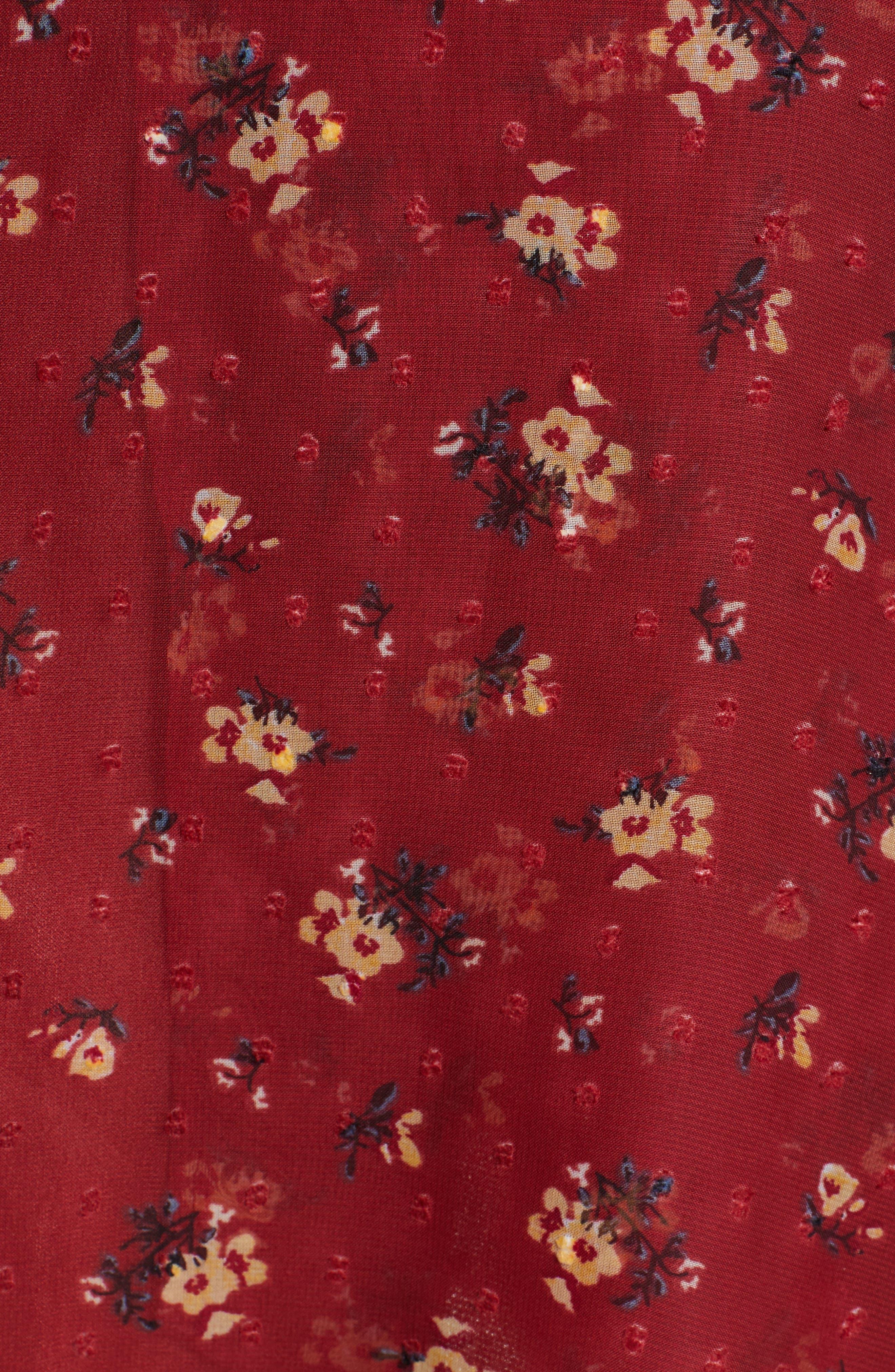 Floral Print Dress,                             Alternate thumbnail 6, color,                             BRICK