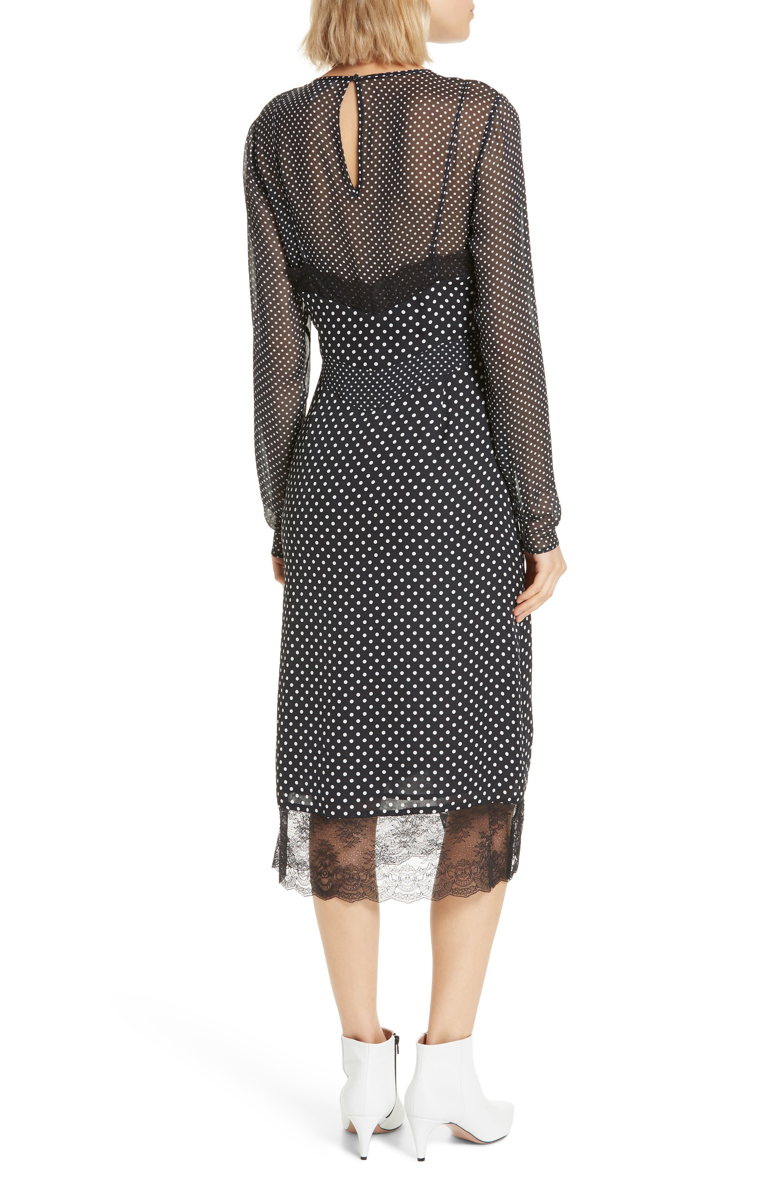 Alamea Dot & Lace Midi Dress,                             Alternate thumbnail 2, color,                             CAVIAR