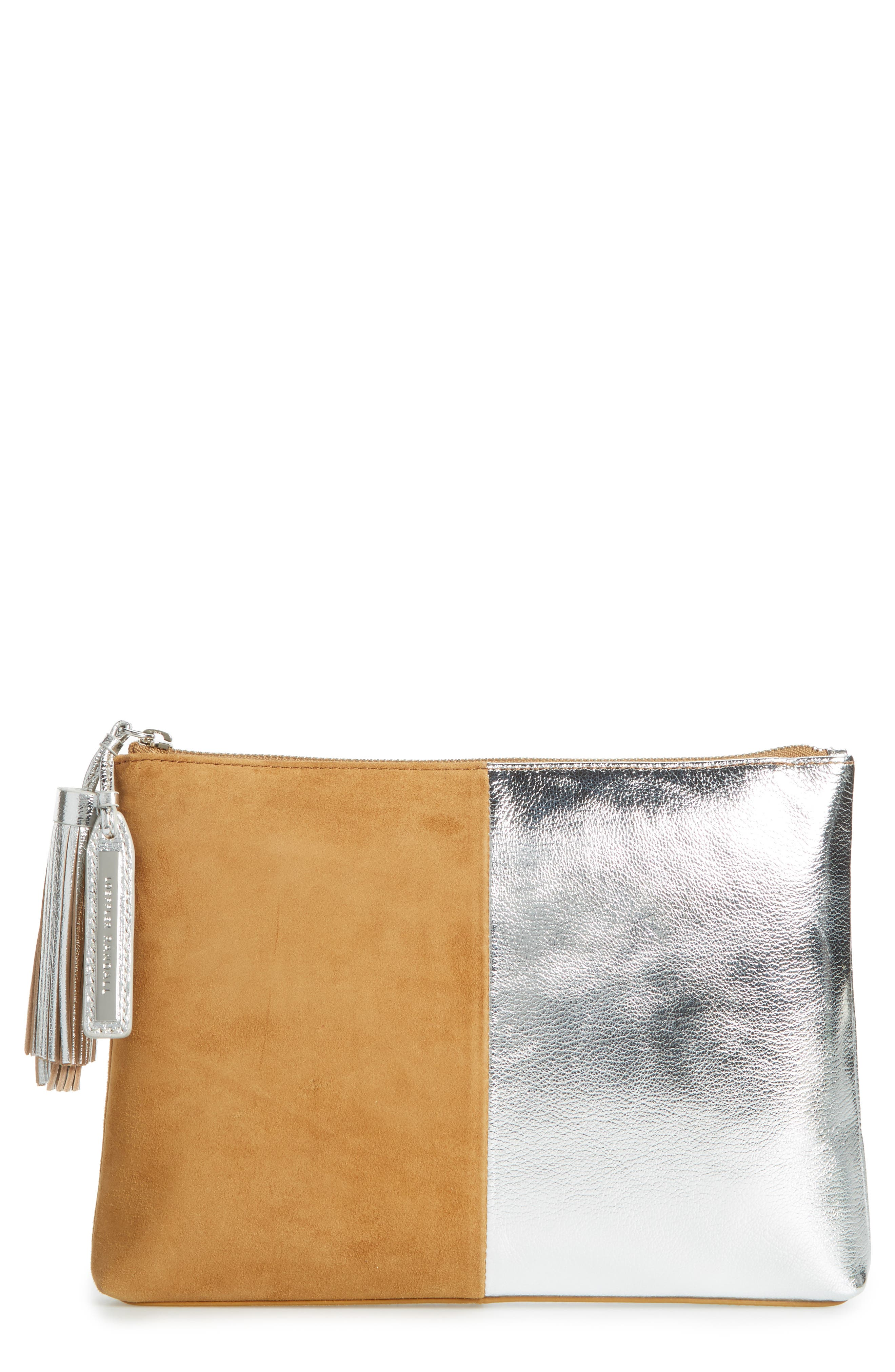 Tassel Metallic Leather & Suede Pouch,                             Main thumbnail 1, color,                             269