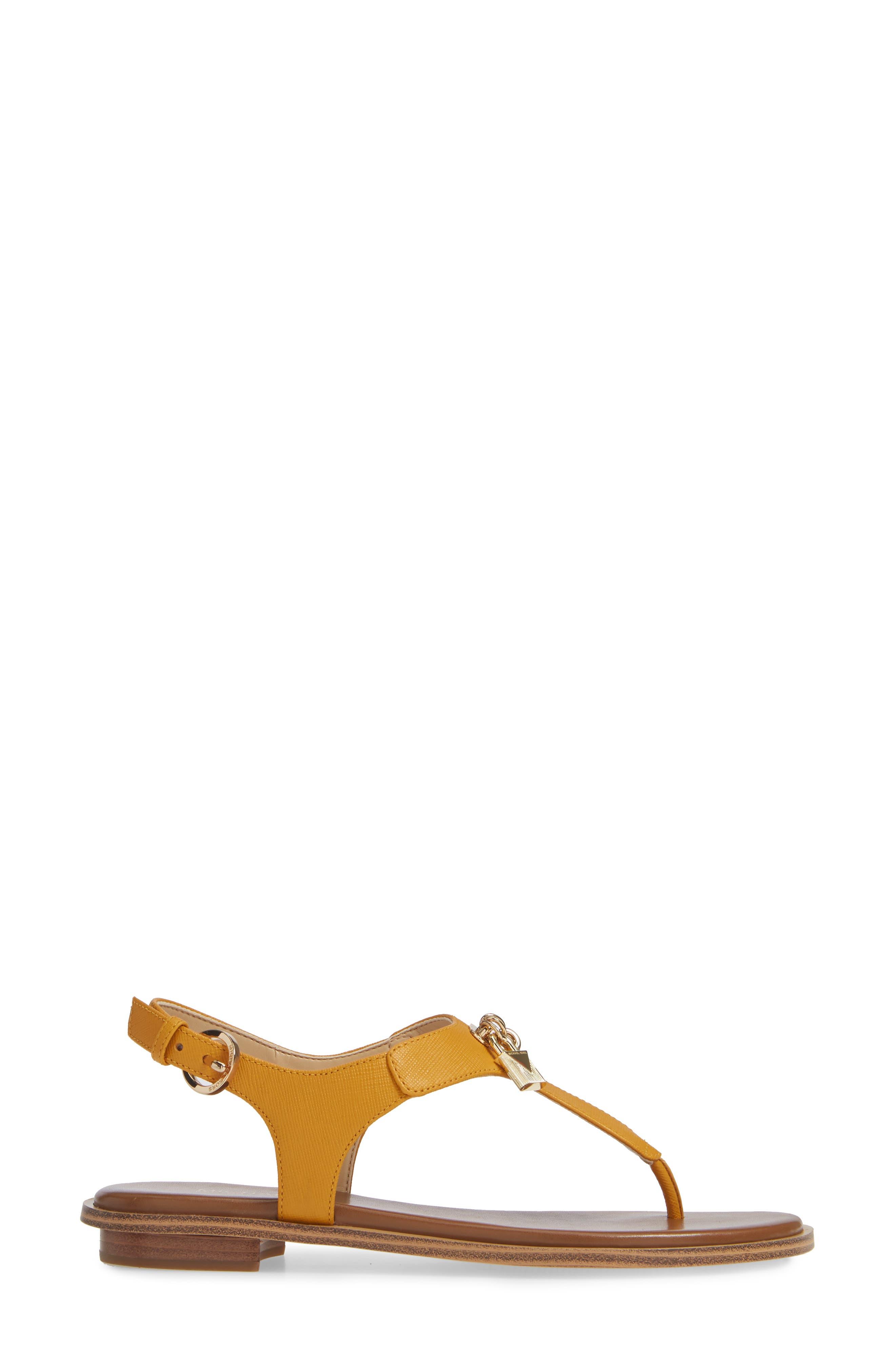 Suki T-Strap Charm Sandal,                             Alternate thumbnail 3, color,                             MARIGOLD LEATHER