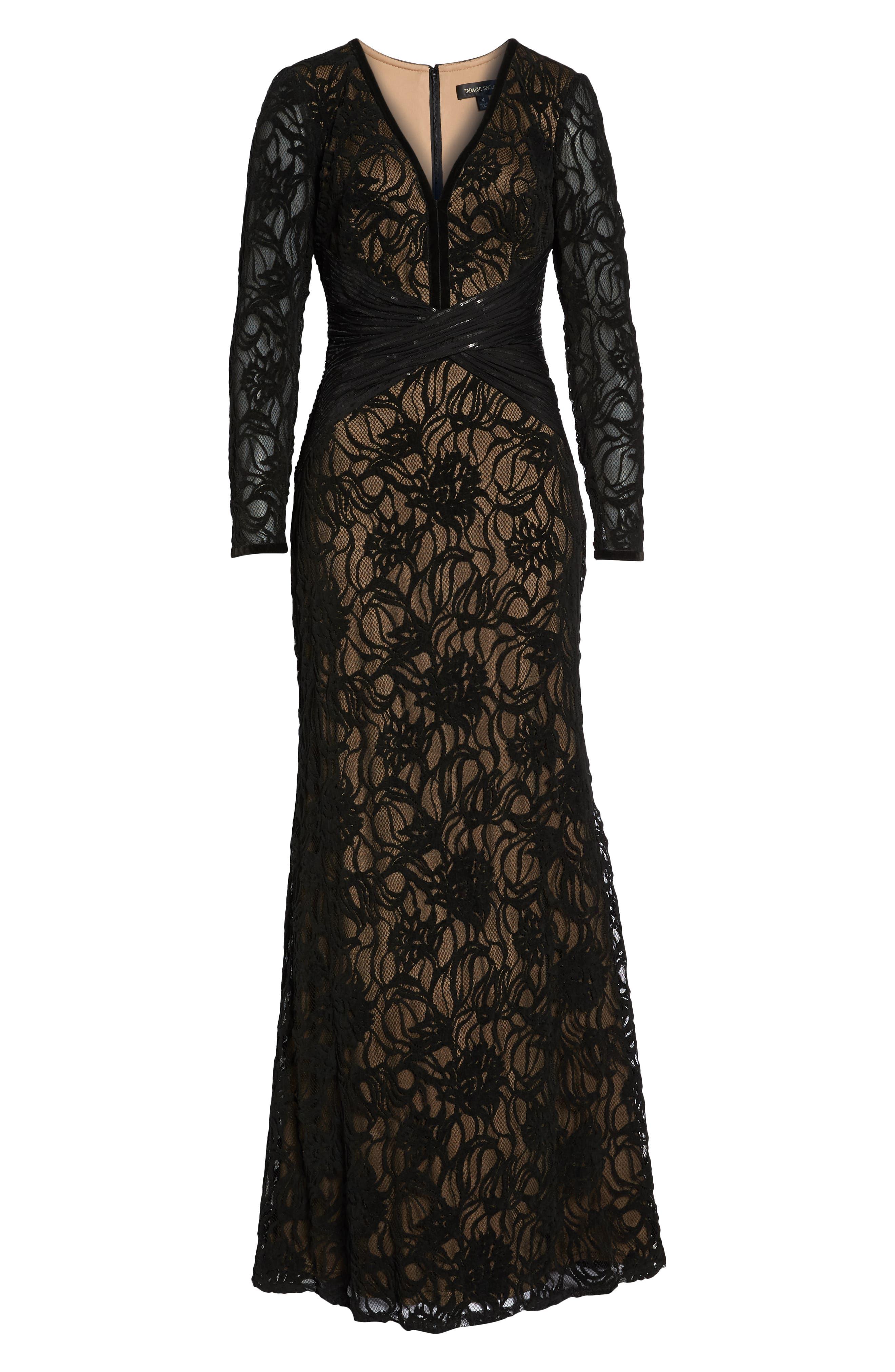 Burnout Lace Gown,                             Alternate thumbnail 7, color,                             BLACK/ NUDE