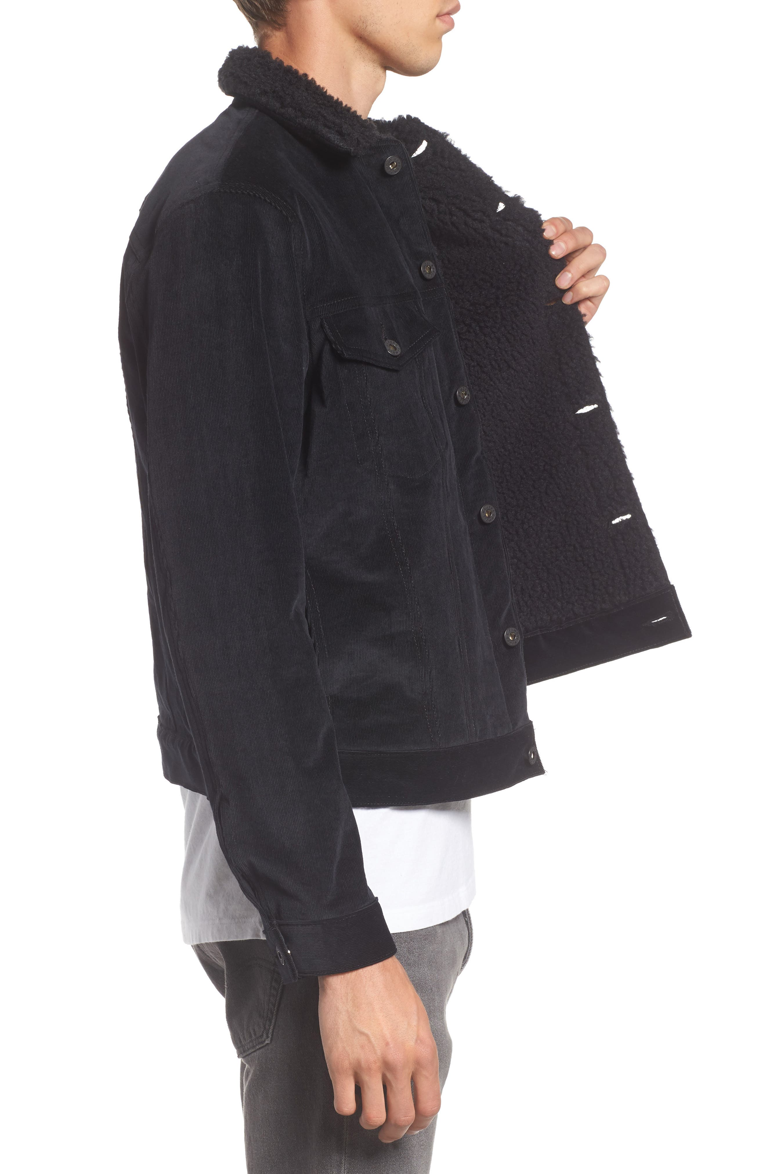Corduroy Jacket with Faux Shearling Trim,                             Alternate thumbnail 3, color,                             001