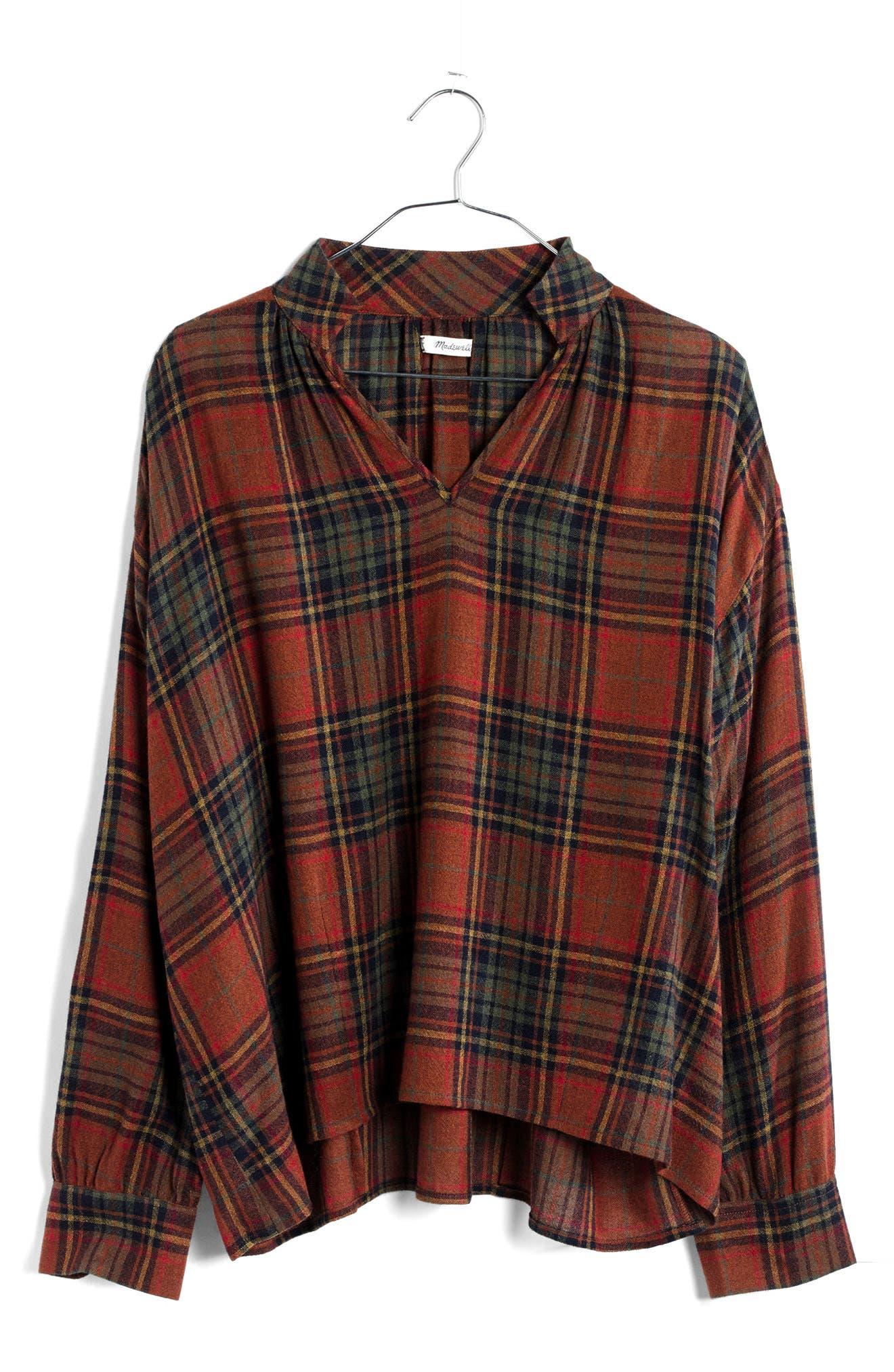 Highroad Plaid Popover Shirt,                             Alternate thumbnail 5, color,                             800