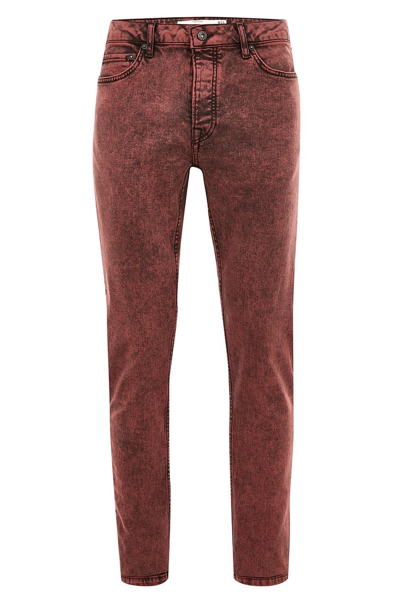 Acid Wash Stretch Skinny Jeans,                             Alternate thumbnail 4, color,                             RED