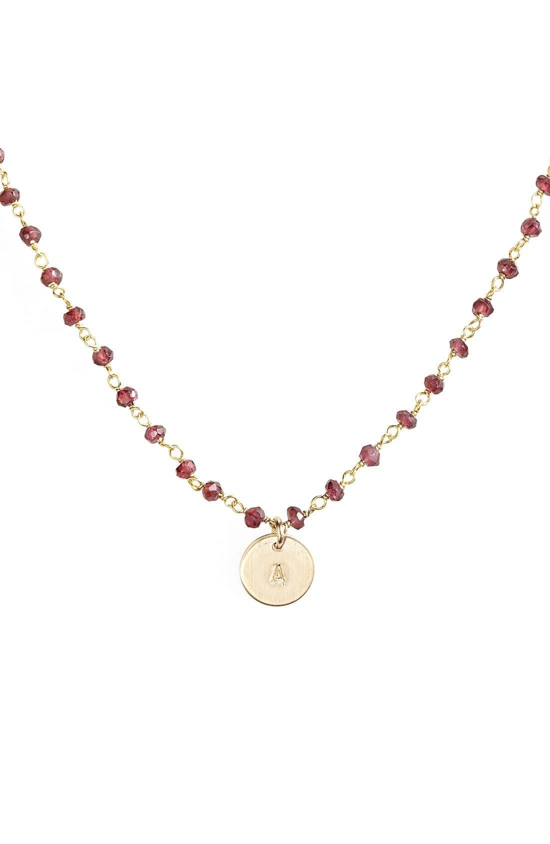 14k-Gold Fill Mini Initial Disc Garnet Chain Necklace,                             Alternate thumbnail 2, color,                             710