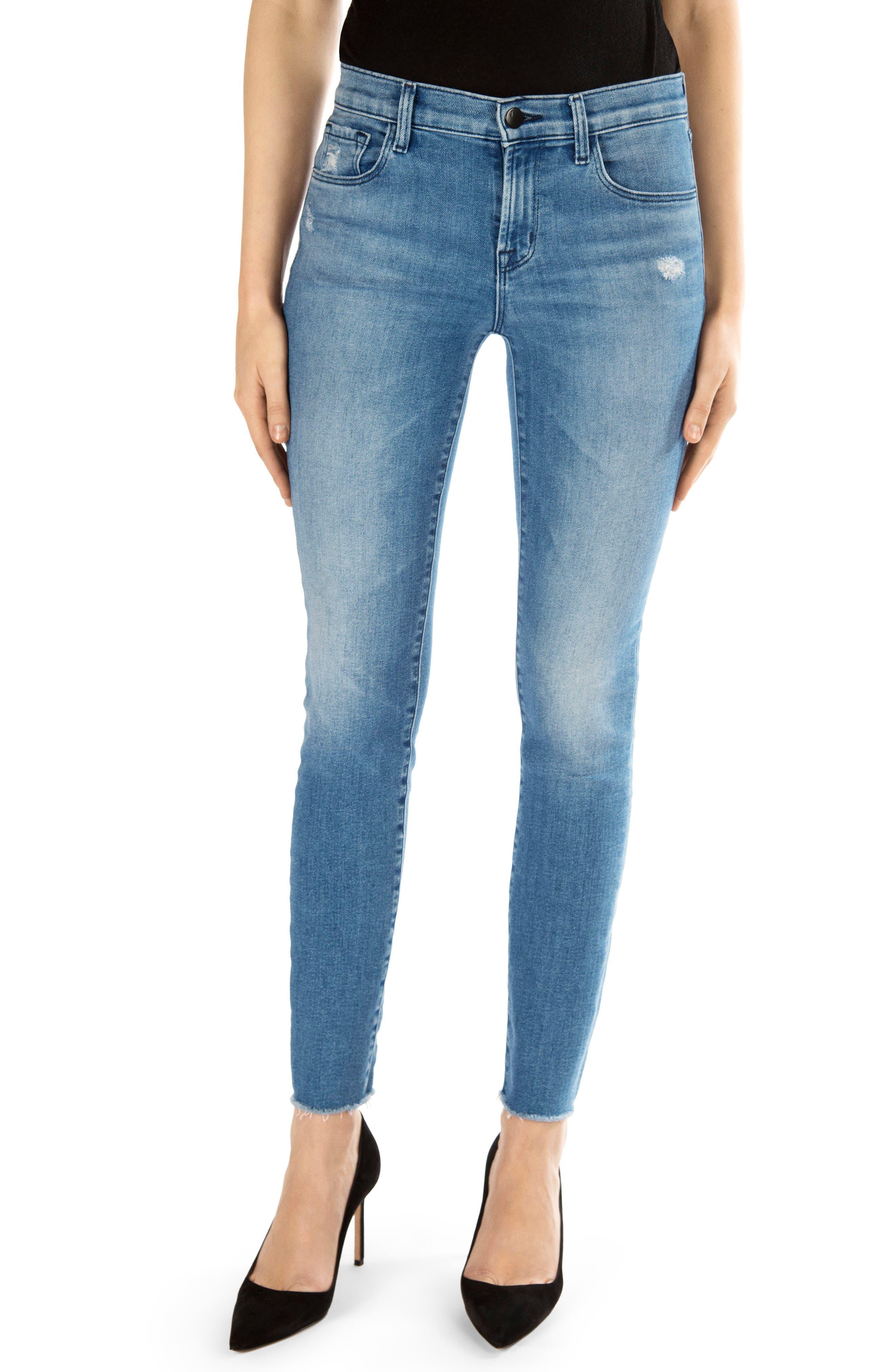811 Raw Hem Ankle Skinny Jeans,                             Main thumbnail 1, color,                             457