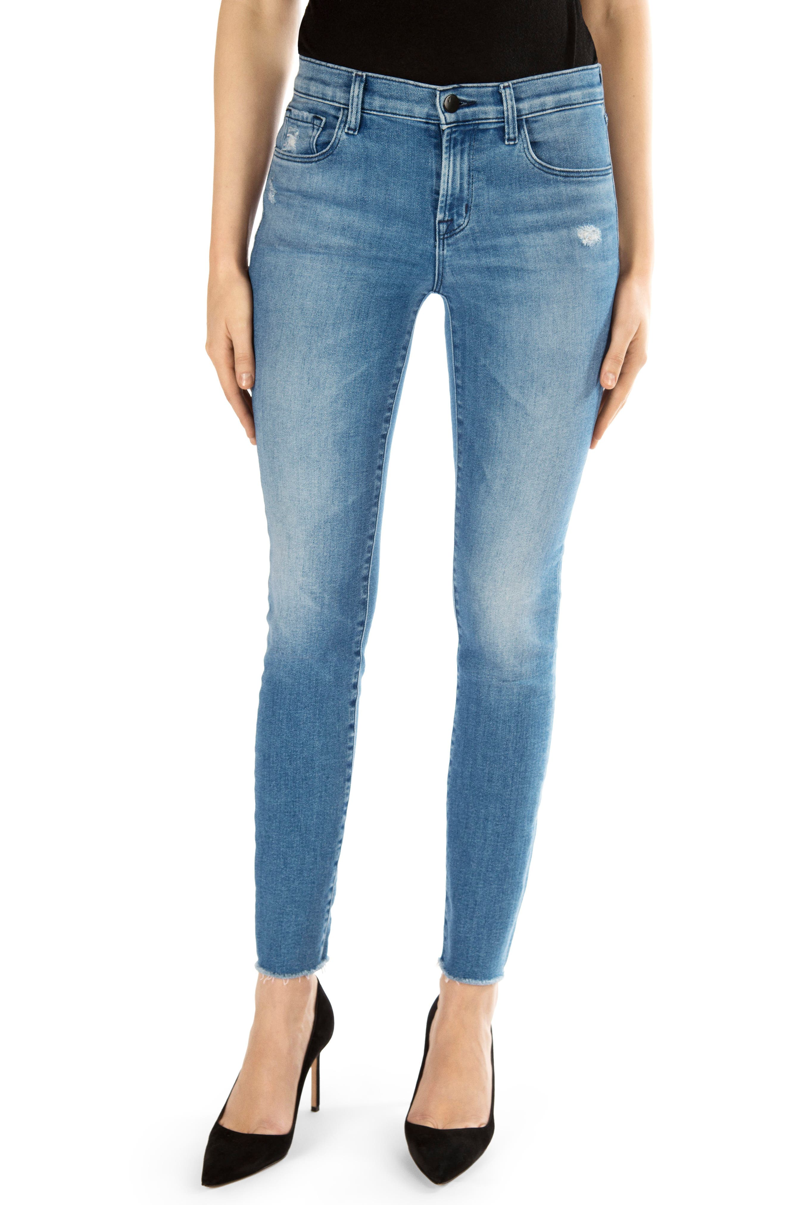 811 Raw Hem Ankle Skinny Jeans,                         Main,                         color, 457