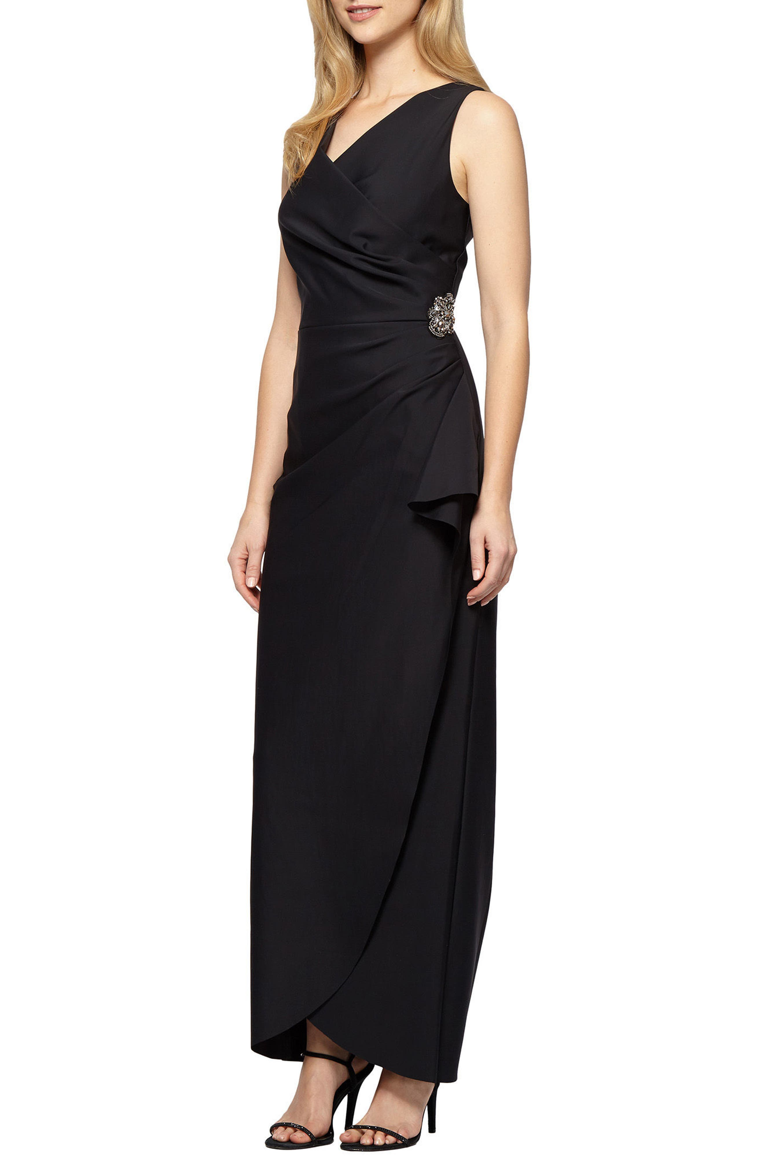 Embellished Side Drape Column Gown,                             Main thumbnail 1, color,                             BLACK