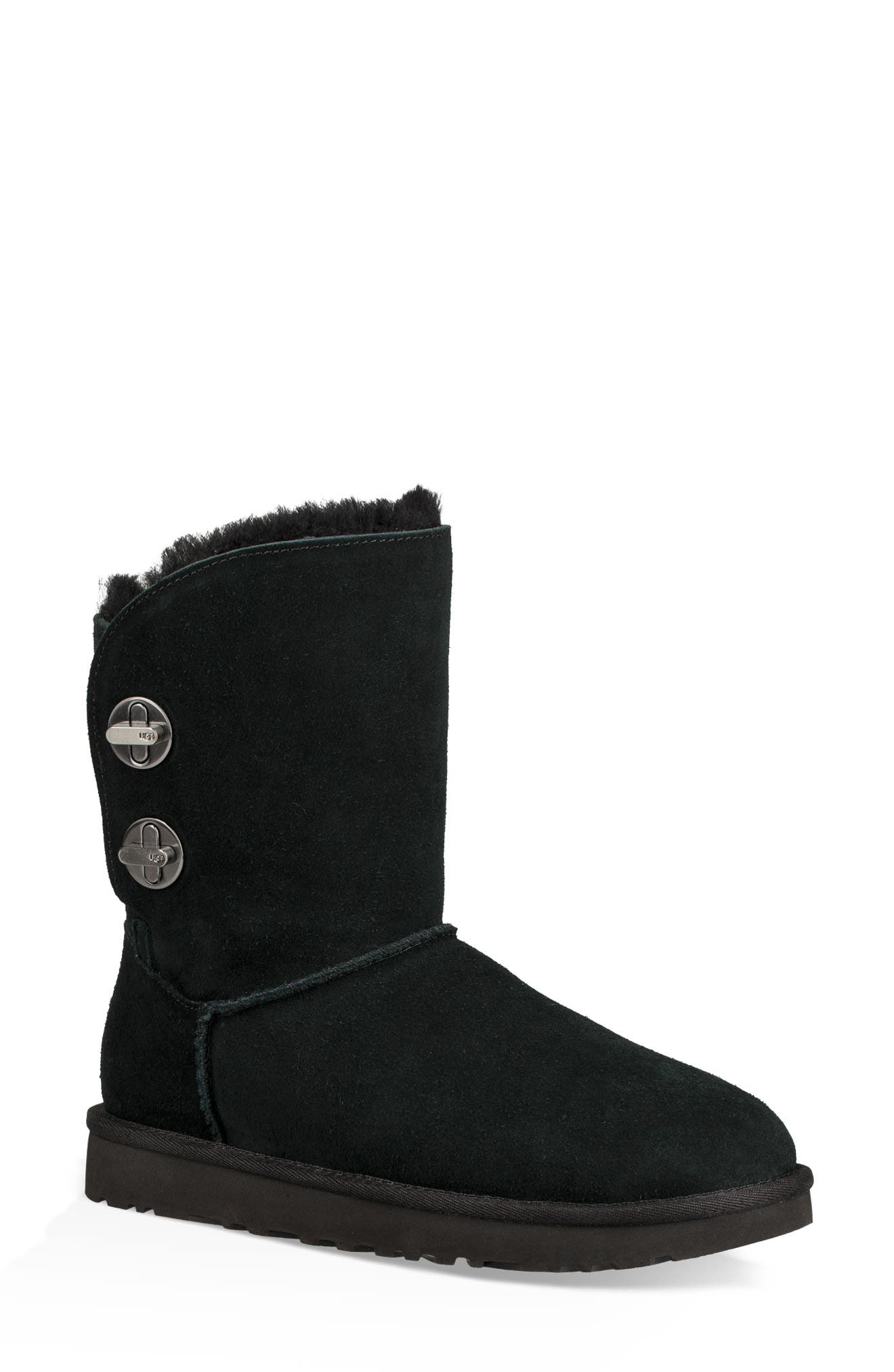 Turnlock Bootie,                             Main thumbnail 1, color,                             BLACK SUEDE