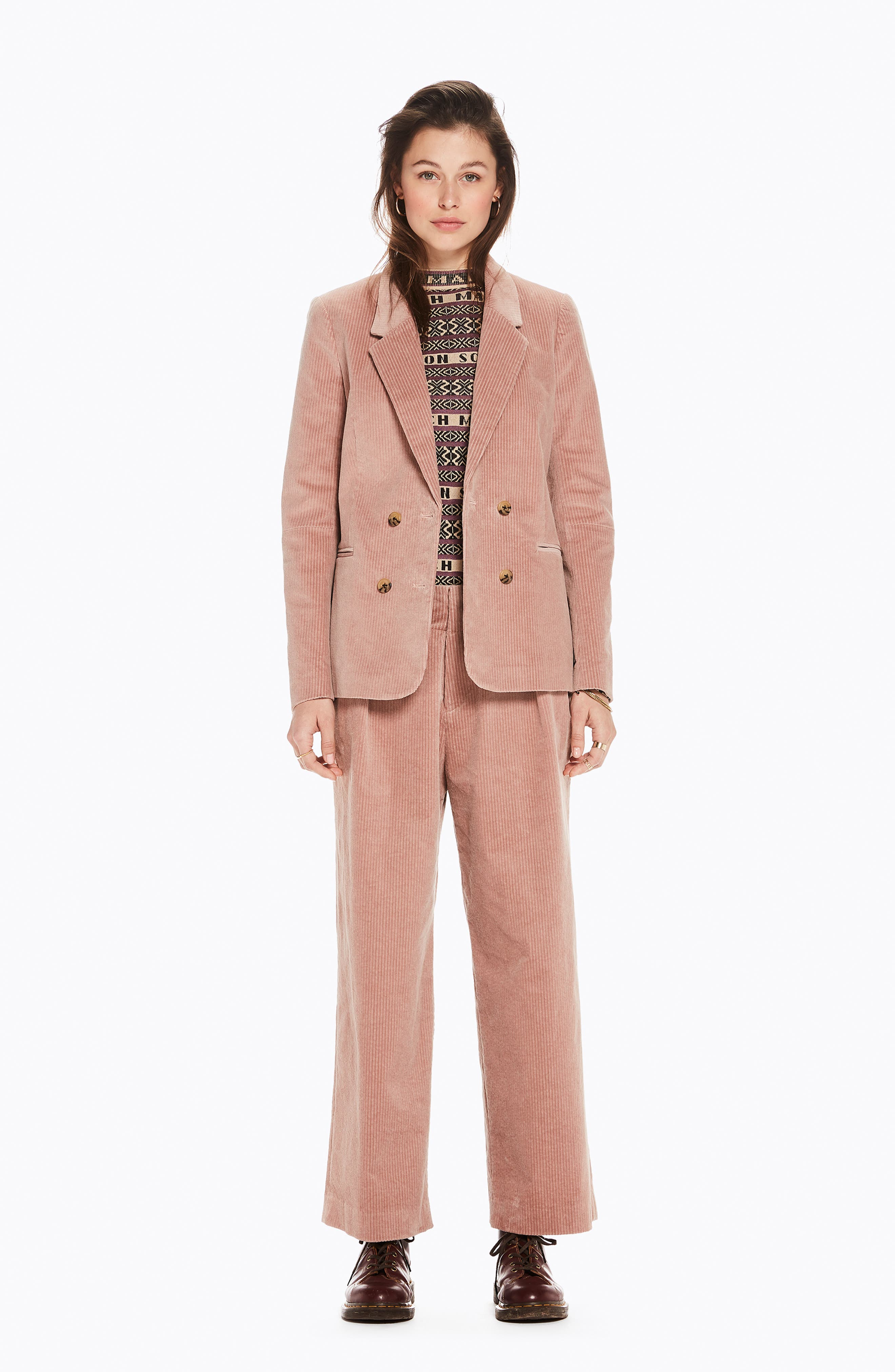 Double Breasted Stretch Corduroy Blazer,                             Alternate thumbnail 5, color,                             MISTY PINK