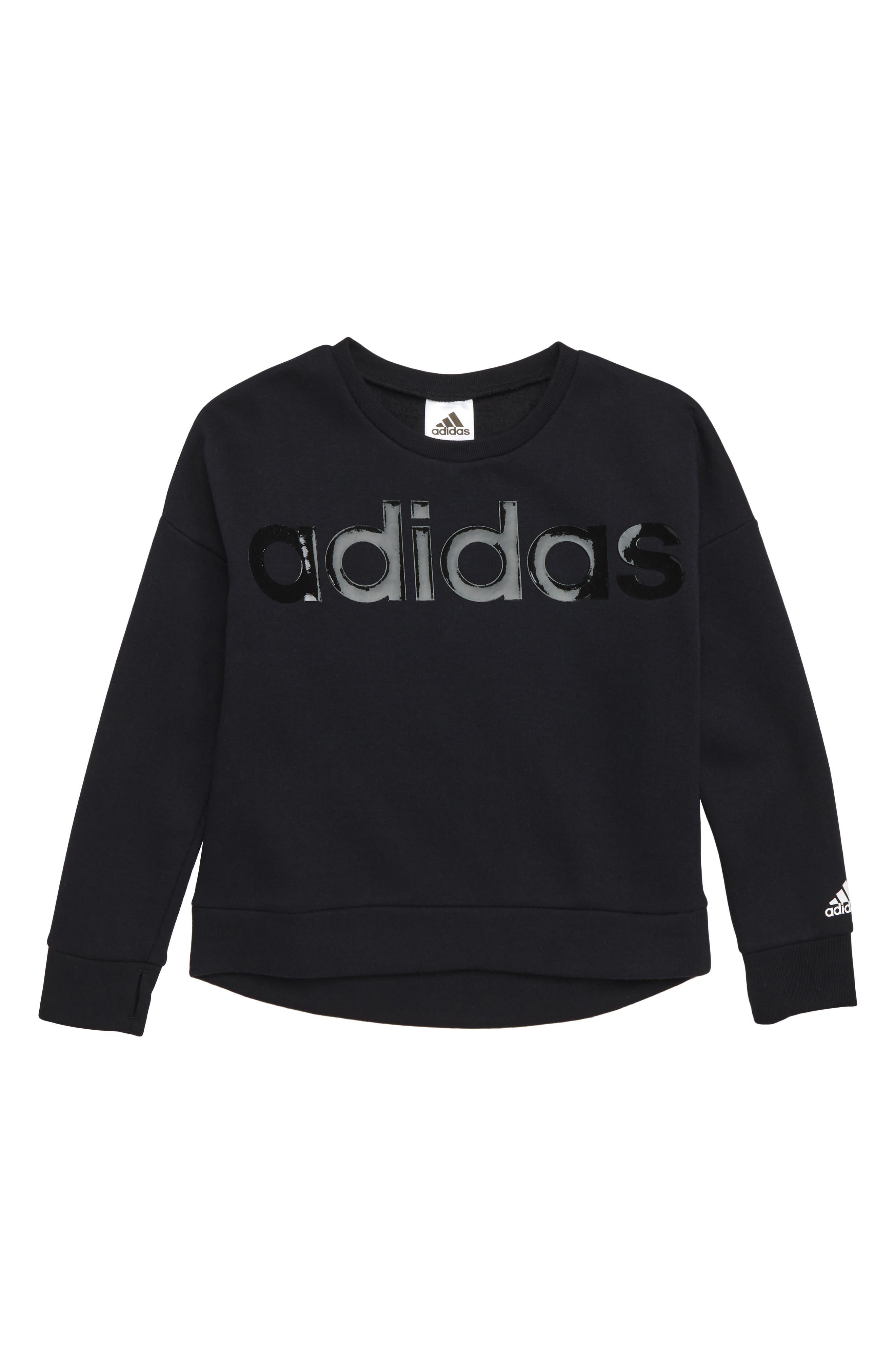 Cropped Sweatshirt,                         Main,                         color, BLACK