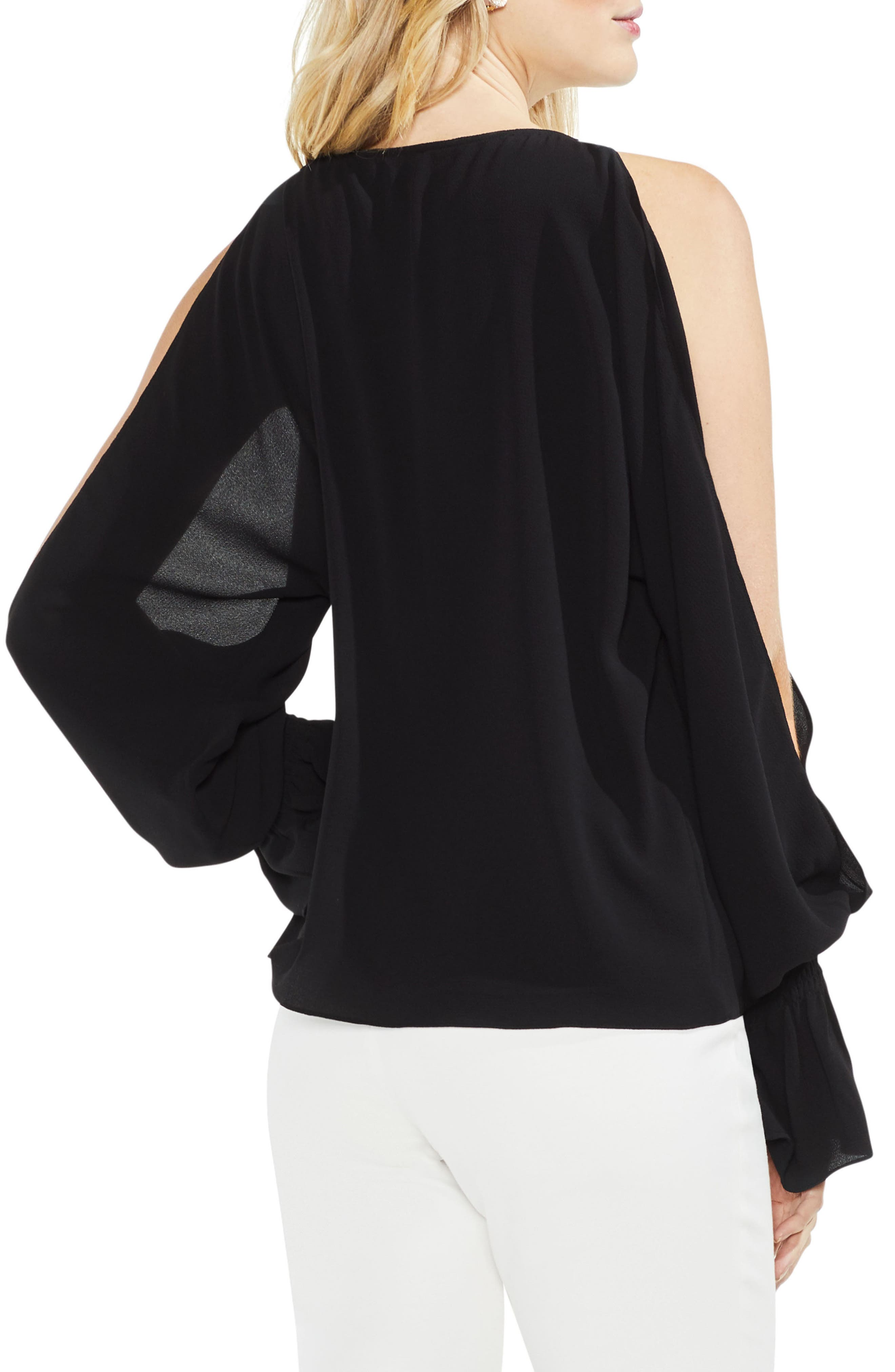 Cold Shoulder Flare Cuff Top,                             Alternate thumbnail 7, color,