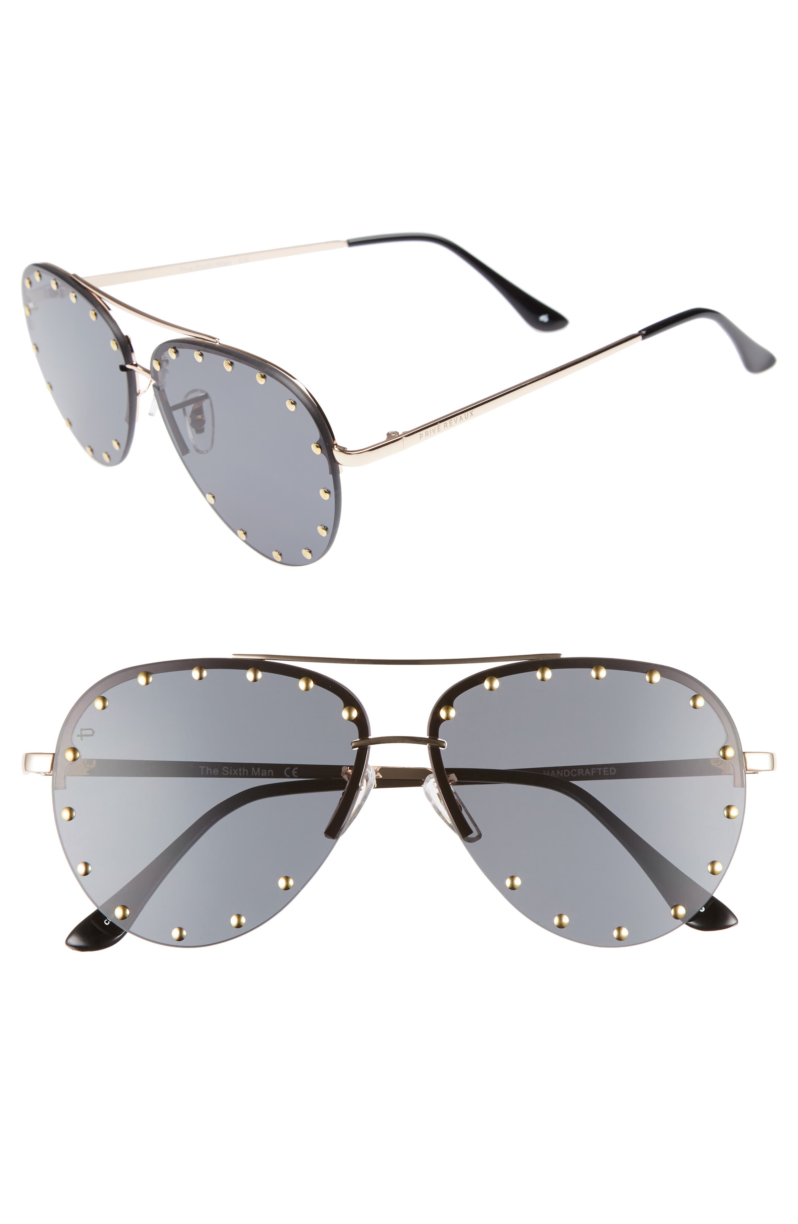 Privé Revaux The Sixth Man 60mm Studded Aviator Sunglasses,                             Main thumbnail 1, color,                             001