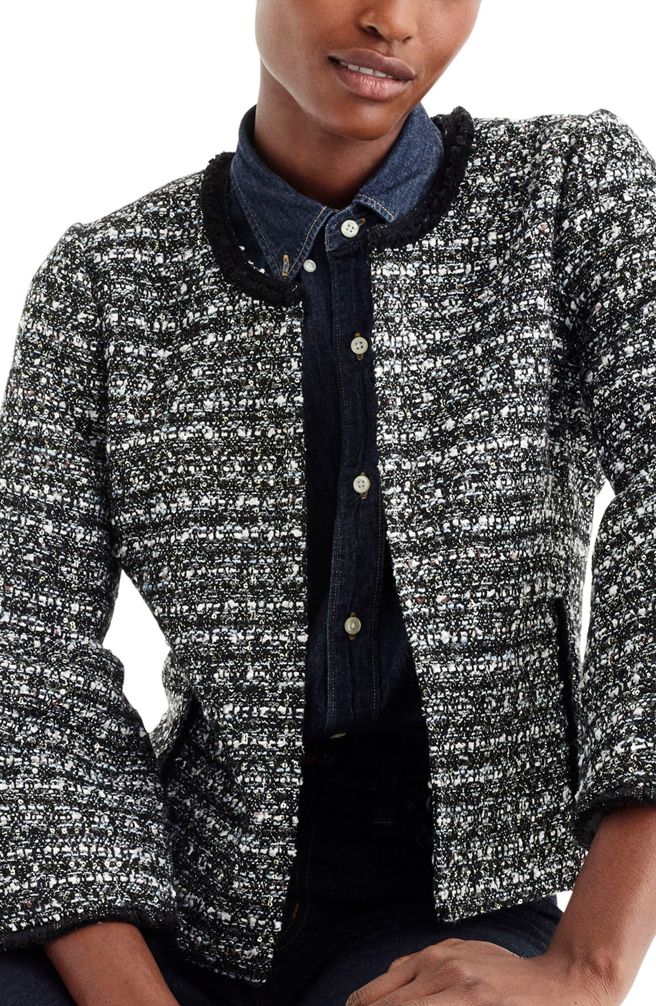 Belle Sequin Tweed Jacket,                             Main thumbnail 1, color,                             009