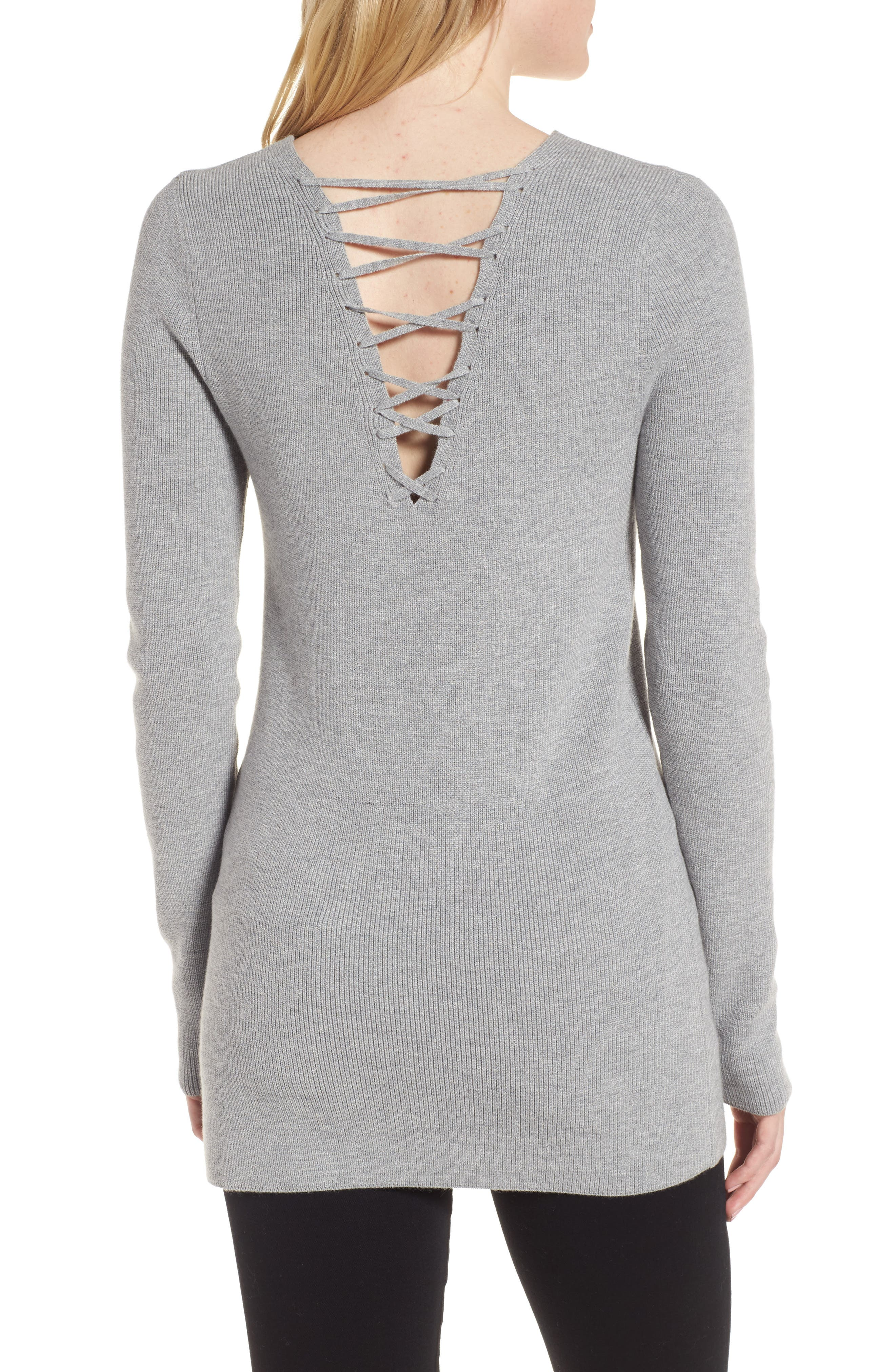 Lace-Up Back Sweater,                             Alternate thumbnail 3, color,