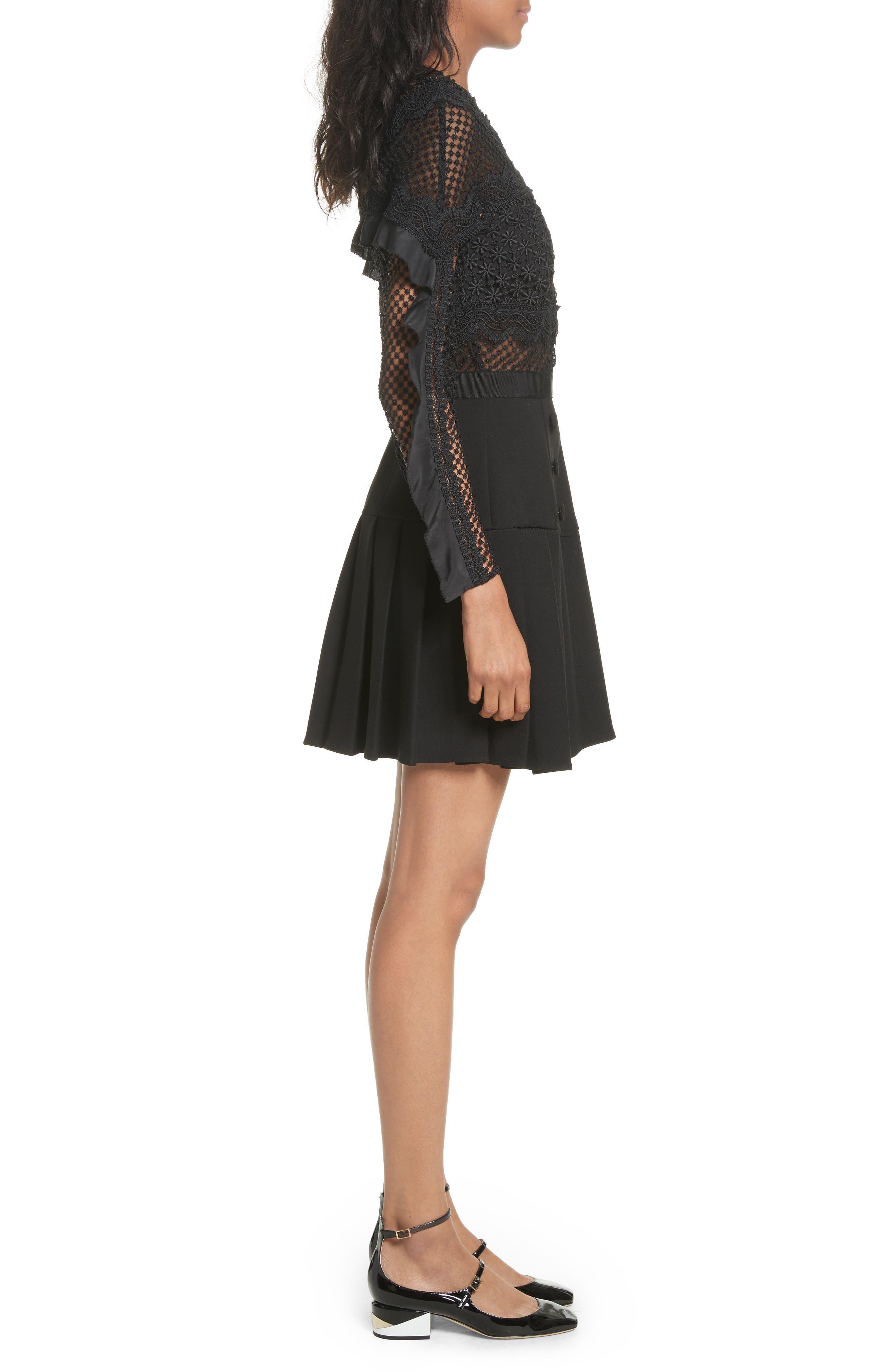 Bellis Lace Fit & Flare Dress,                             Alternate thumbnail 3, color,                             001