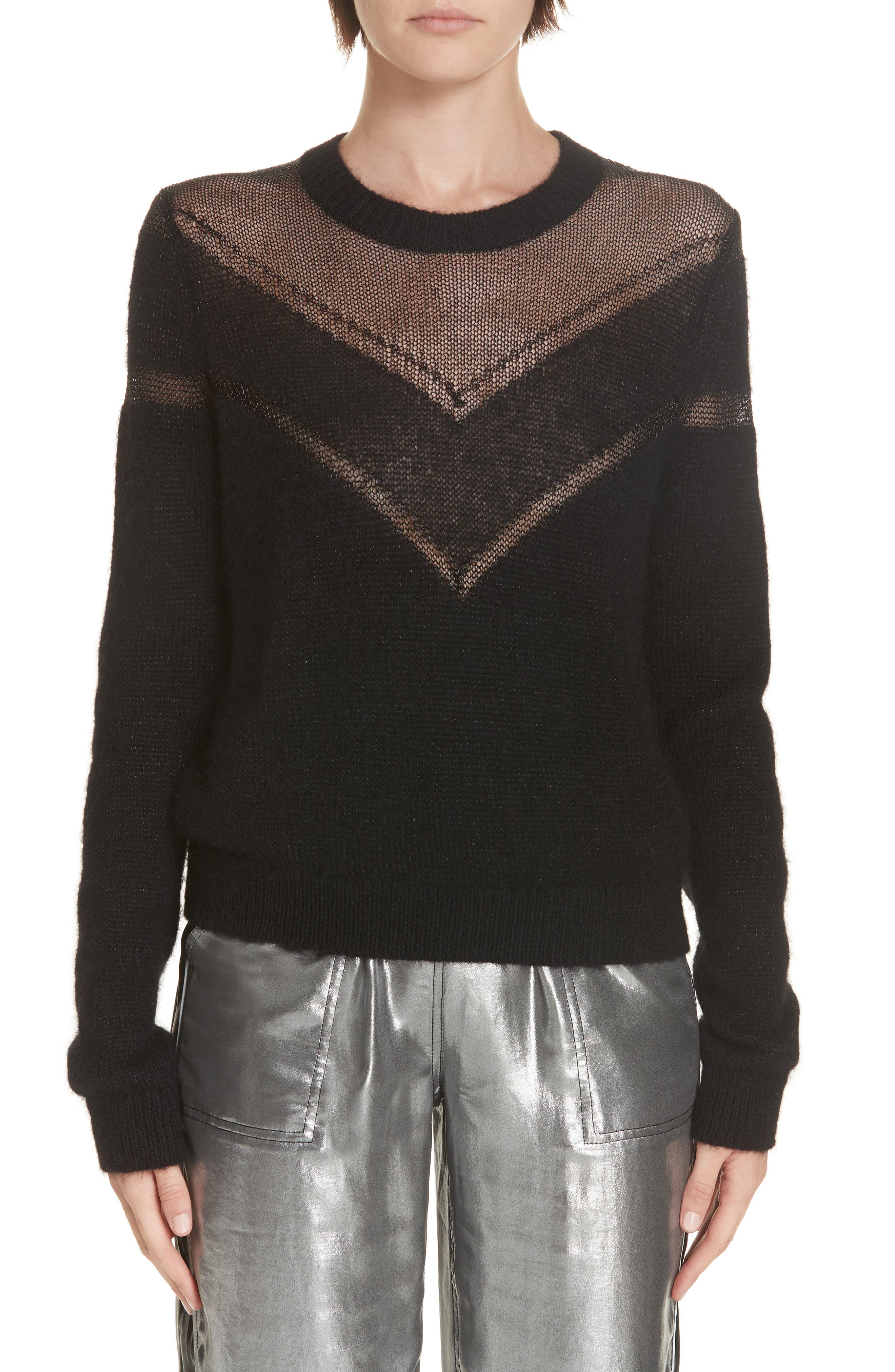 Rag & Bone Sheer Chevron Sweater, Black